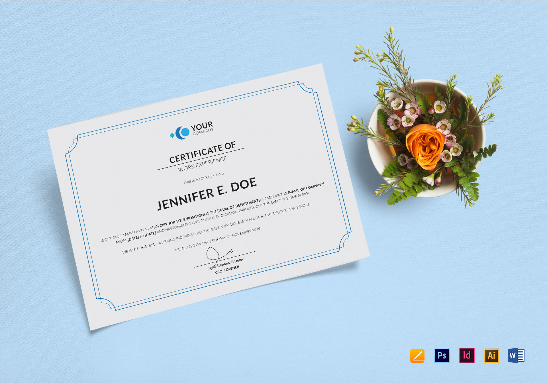 Work Experience Certificate Template In Psd Word Illustrator
