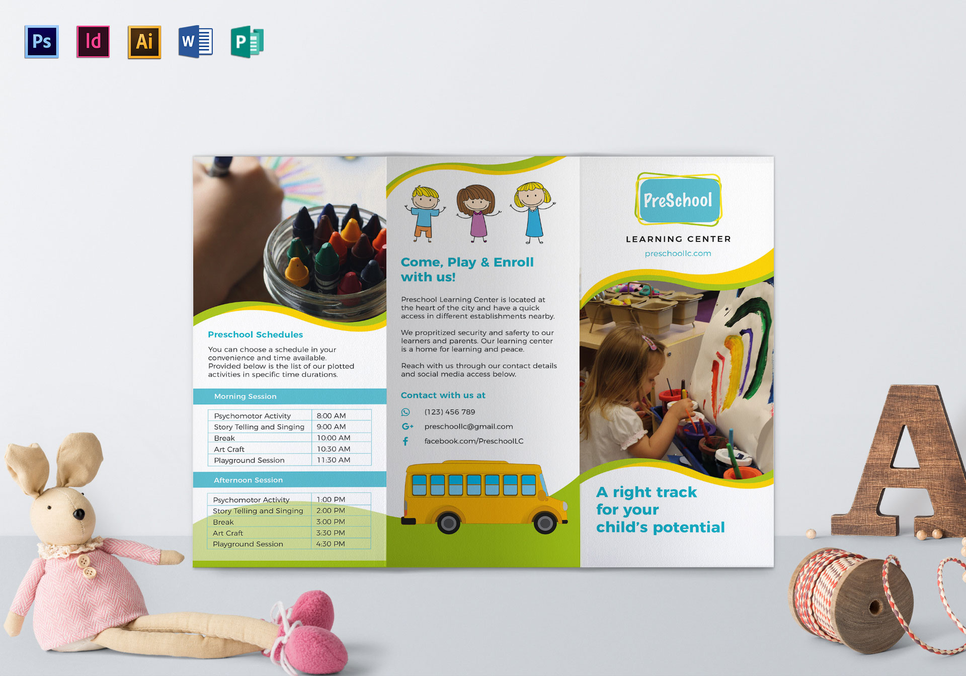 Pre school brochure design template in psd word publisher pre school brochure template maxwellsz
