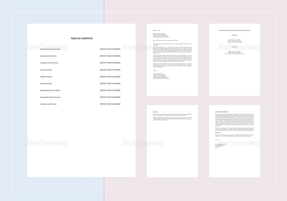 Sample Indesign Business Proposal Template