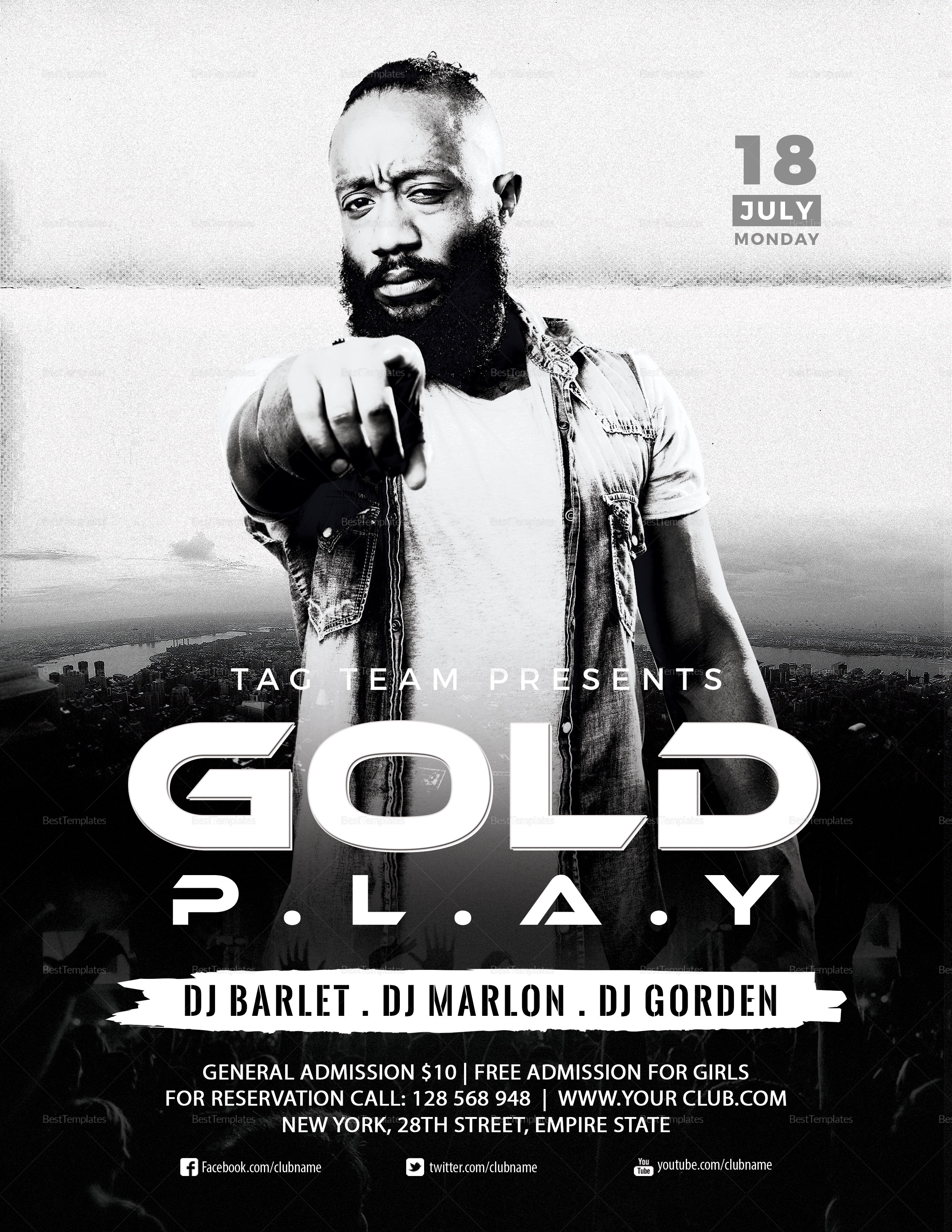 Cold Play Concert Flyer Template