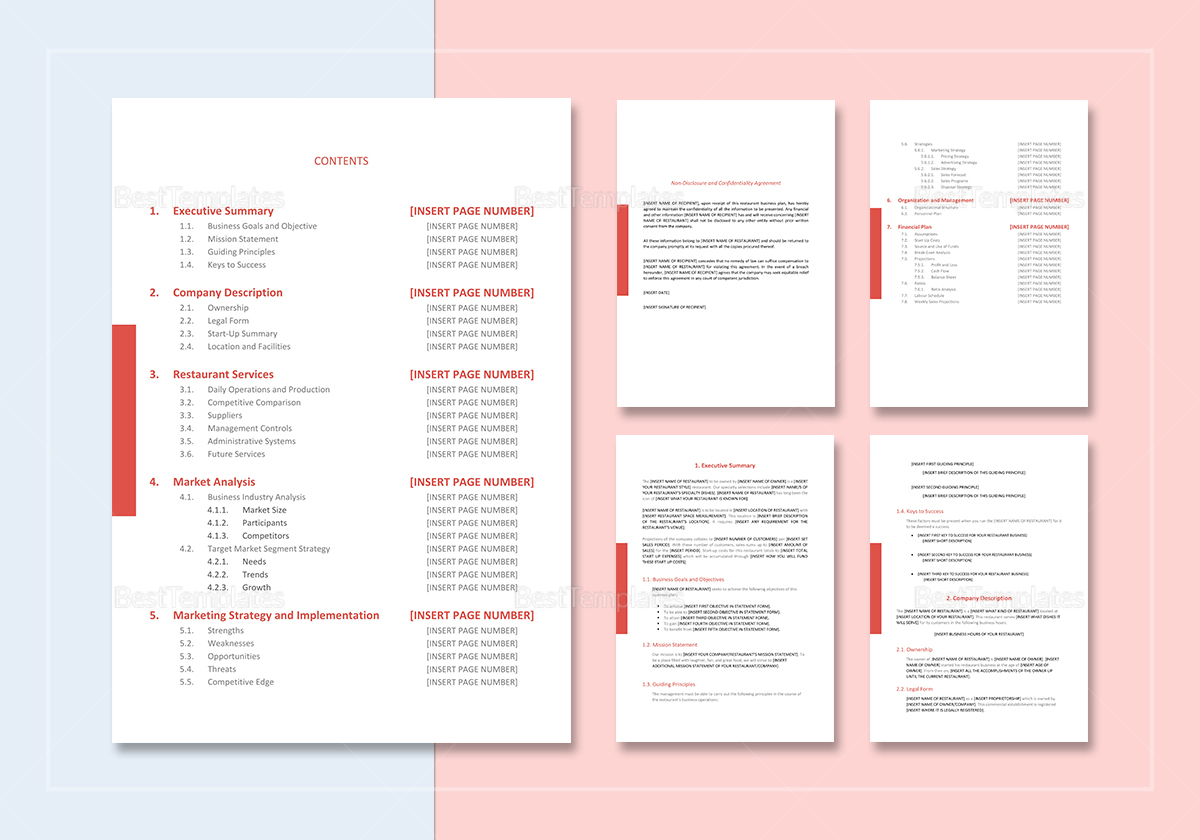 Restaurant Business Plan Template In Word, Google Docs, Apple Pages