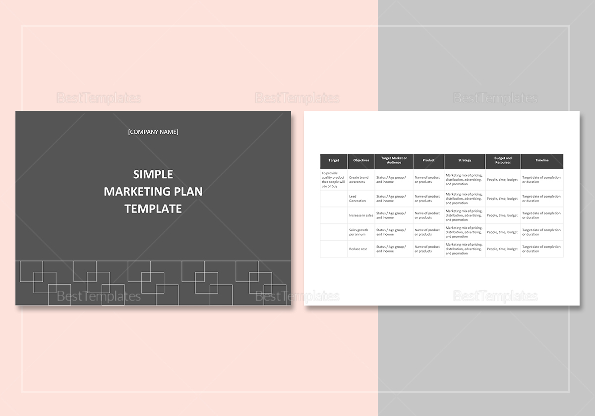 simple marketing plan template in word  google docs  apple