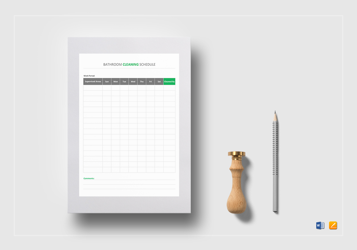 Cleaning Schedule Template | Bathroom Cleaning Schedule Template In Word Excel Apple Pages Numbers