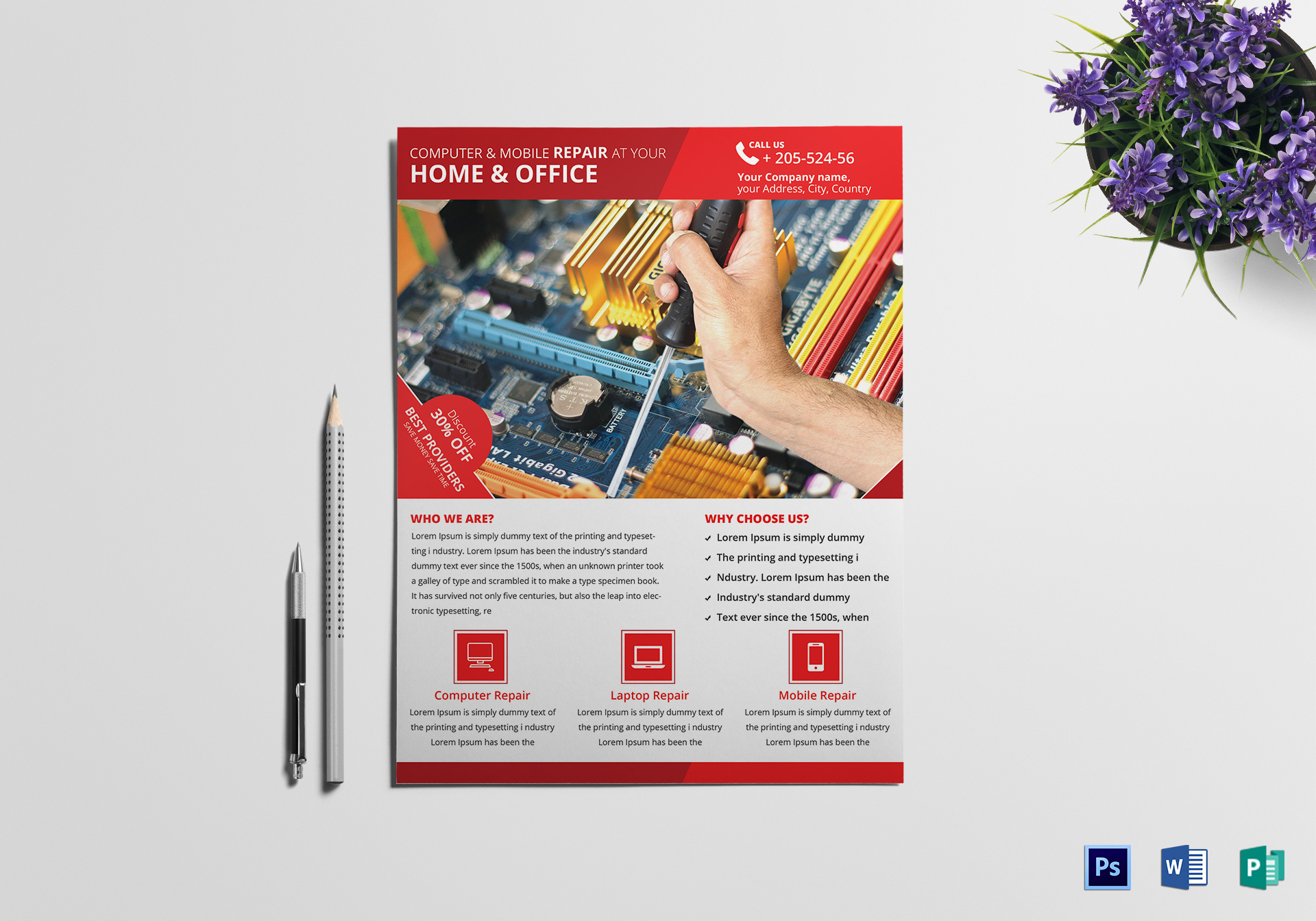 Computer Mobile Repair Flyer Design Template In Psd Word Publisher