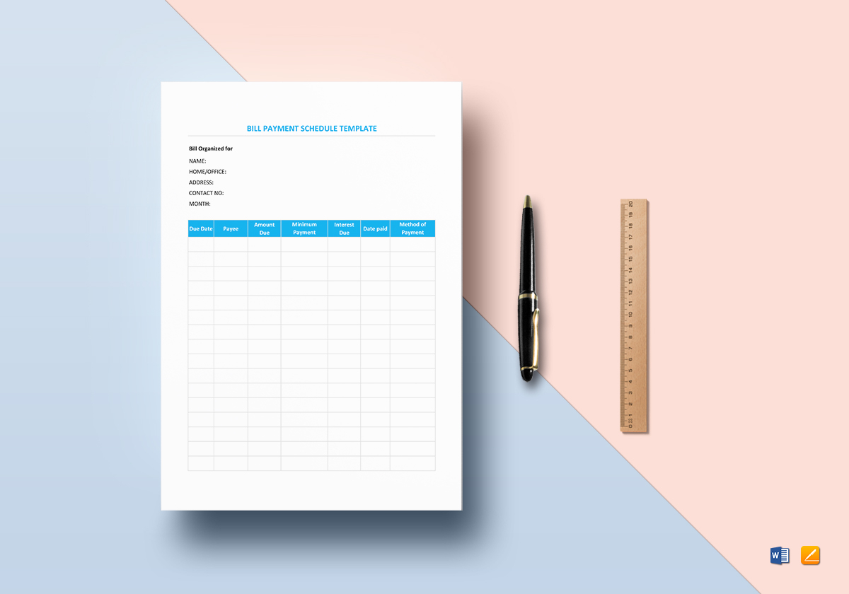 Bill payment schedule template in word excel apple pages numbers maxwellsz