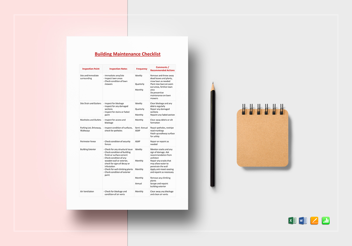building maintenance checklist template in word excel apple pages
