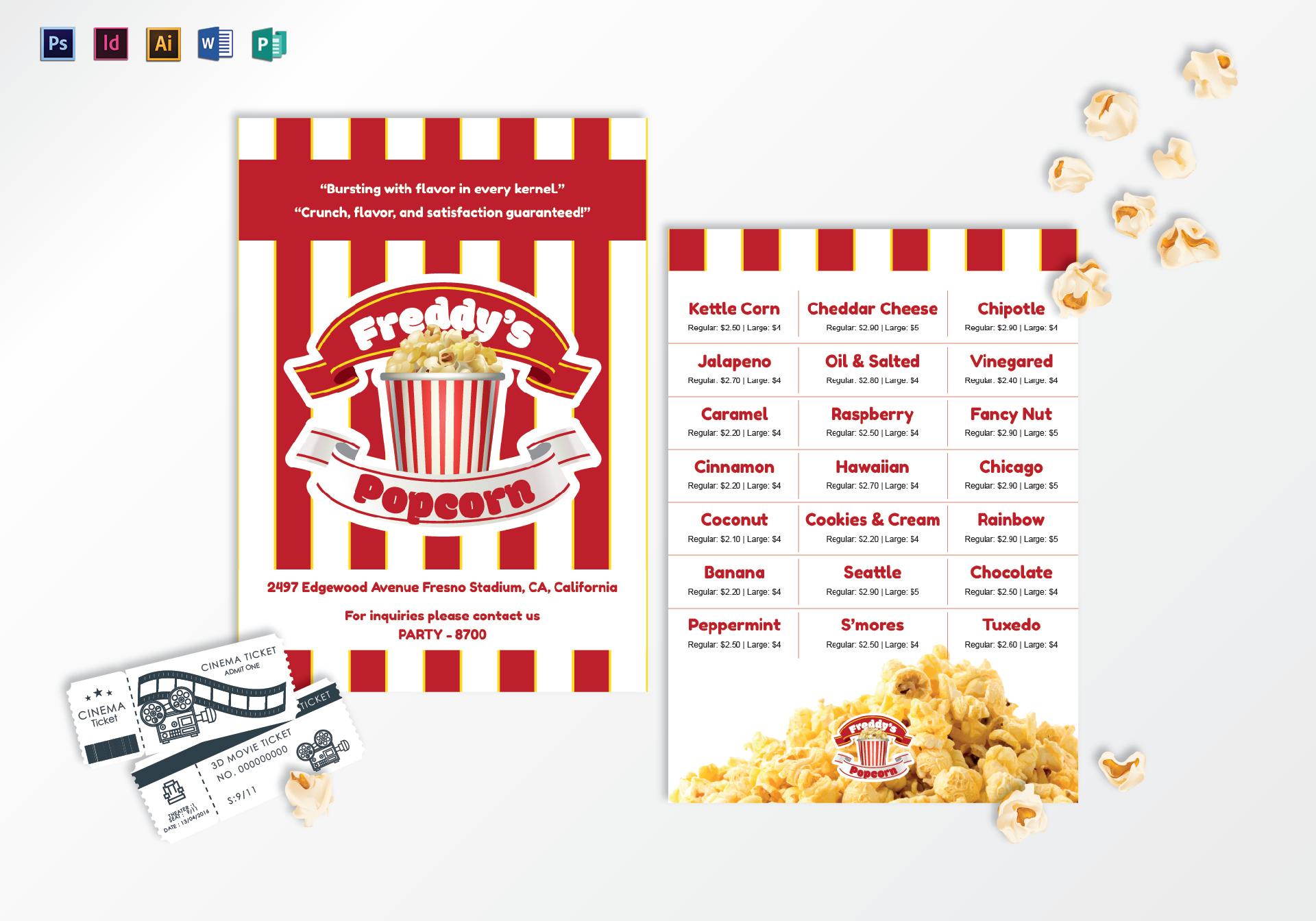 Popcorn Menu Template