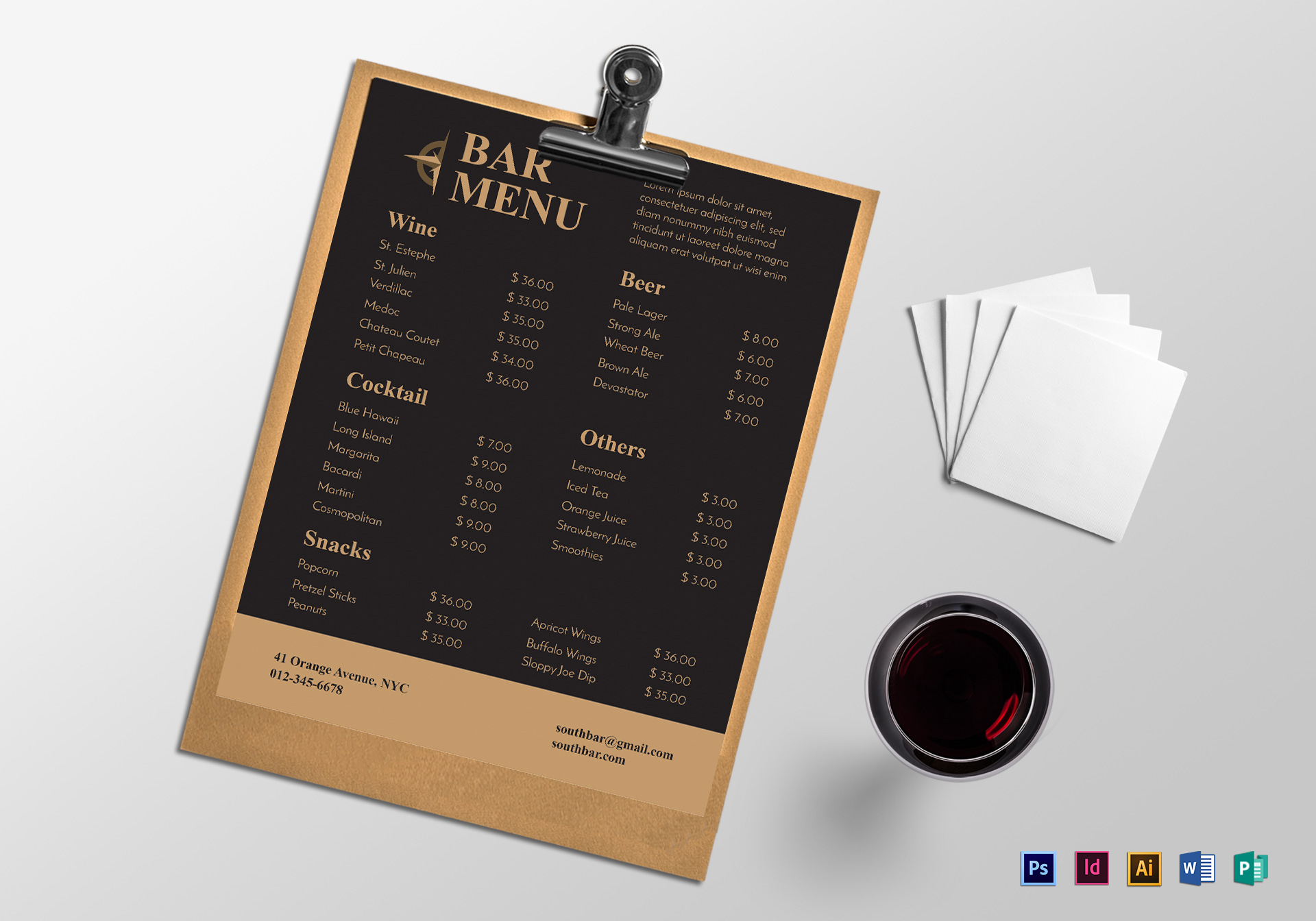 Sample Bar Menu Template