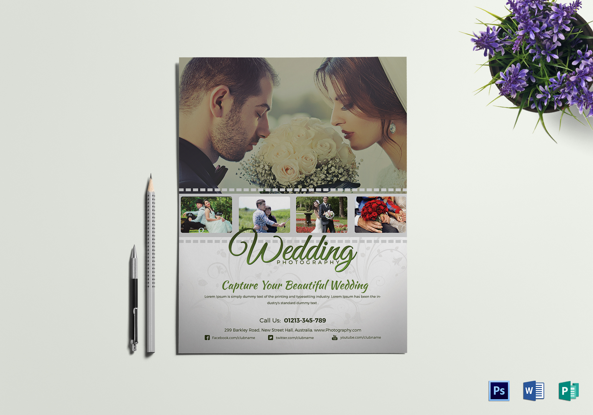 Wedding Photography Flyer Design Template In Word PSD Publisher - Wedding photography brochure template