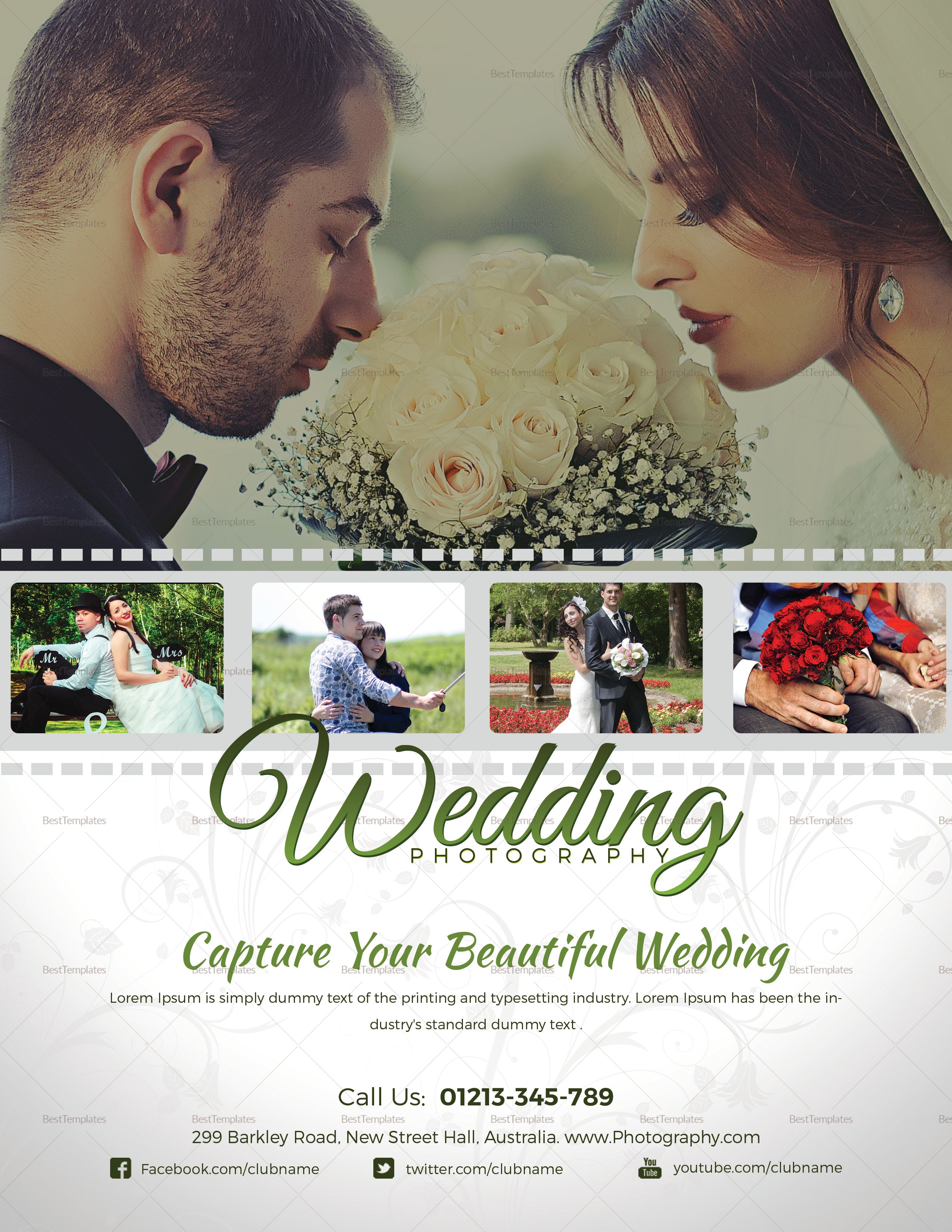 How To Advertise Your Wedding Photography Business: Wedding Photography Flyer Design Template In Word, PSD
