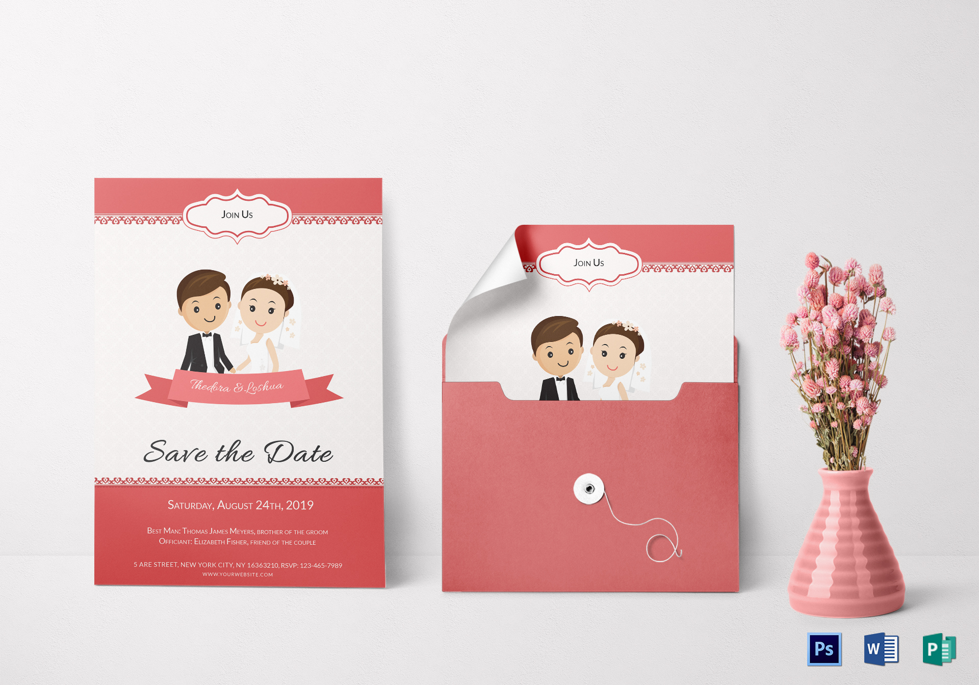 Unique Wedding Invitation Card Design Template in Word, PSD, Publisher