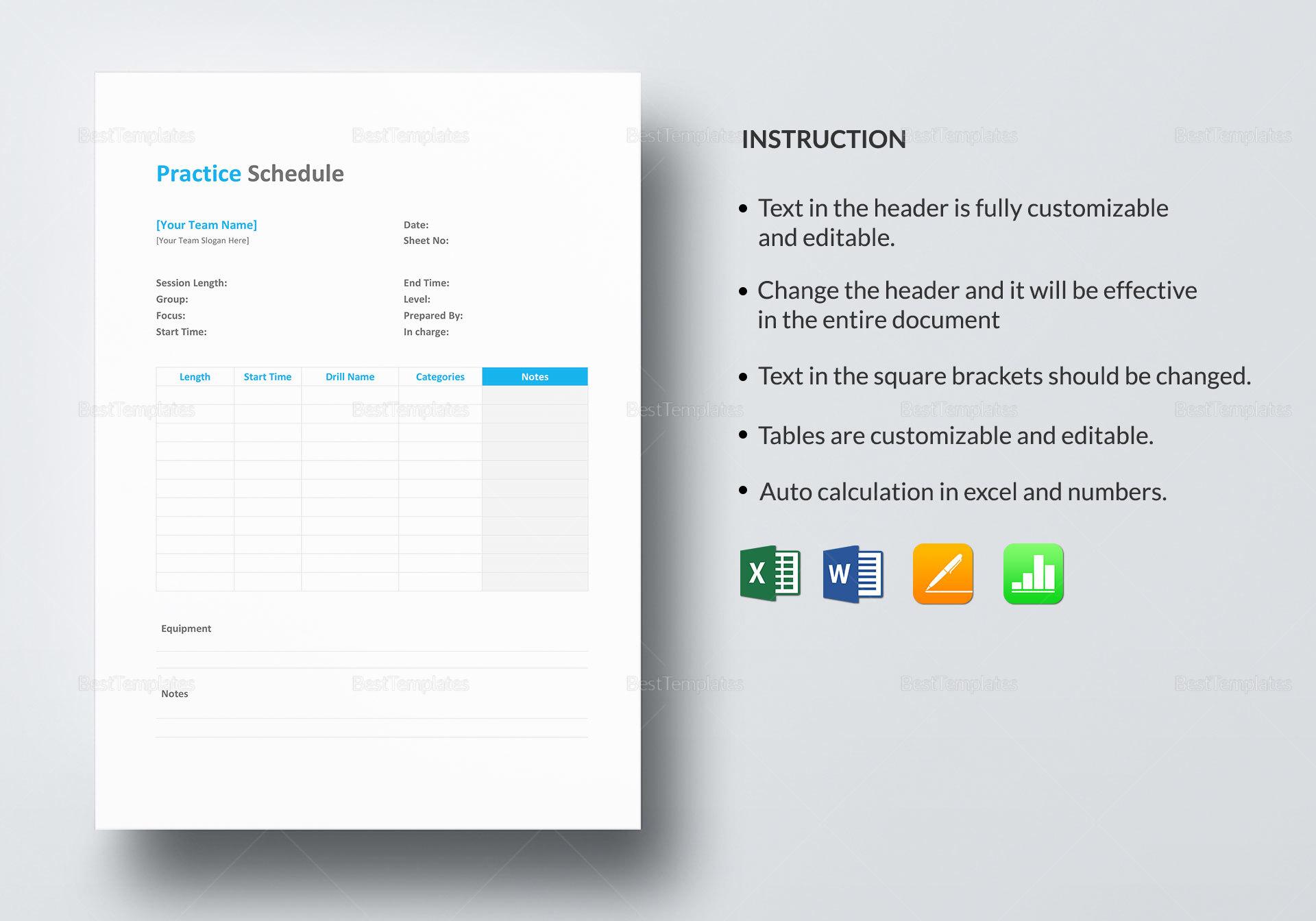 Practice Schedule Design