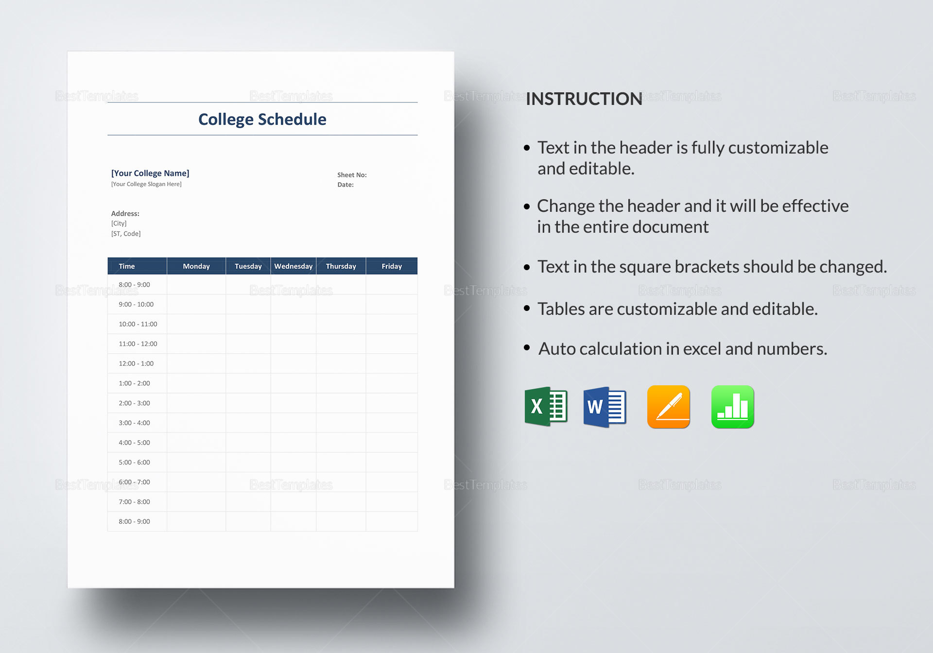 College Schedule Design