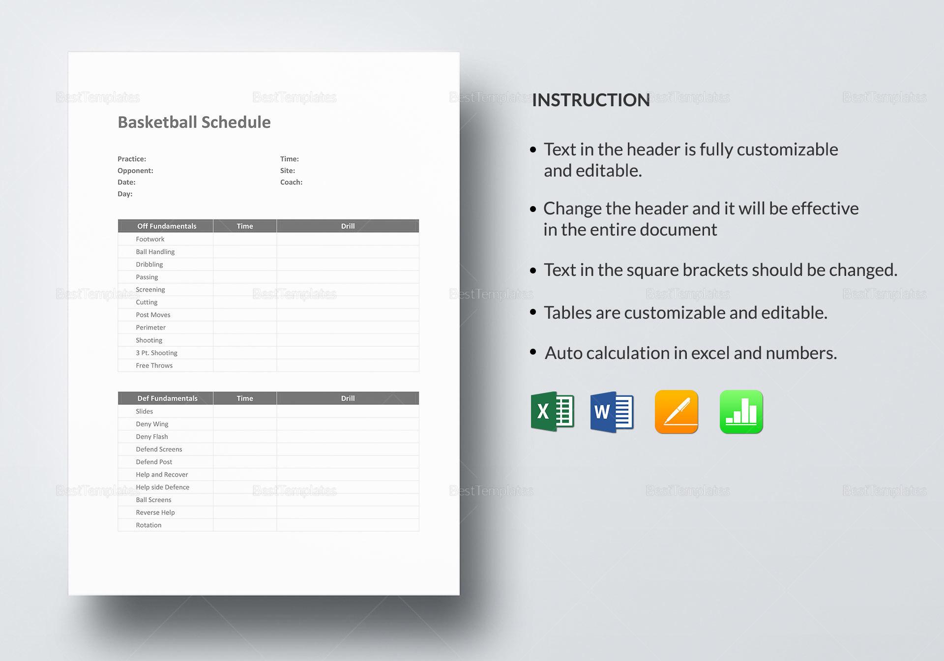 Basketball Schedule Design