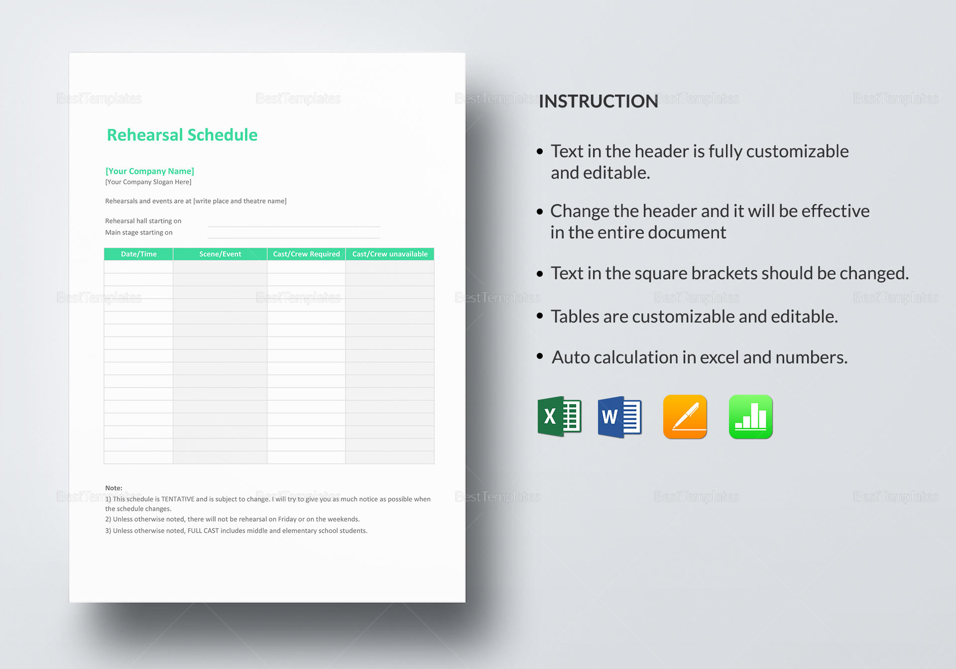 Rehearsal Schedule Template In Word Excel Apple Pages Numbers