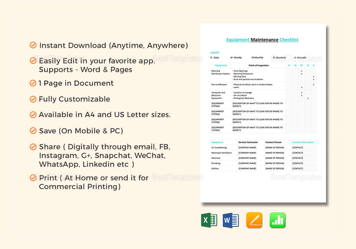 Equipment Maintenance Checklist Template in Word, Excel ...