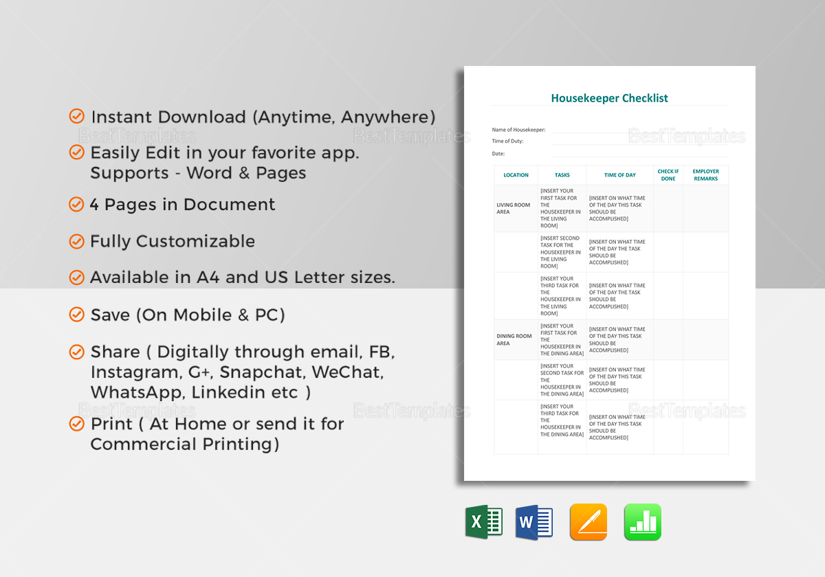 Housekeeper Checklist Template in Word, Excel, Apple Pages, Numbers