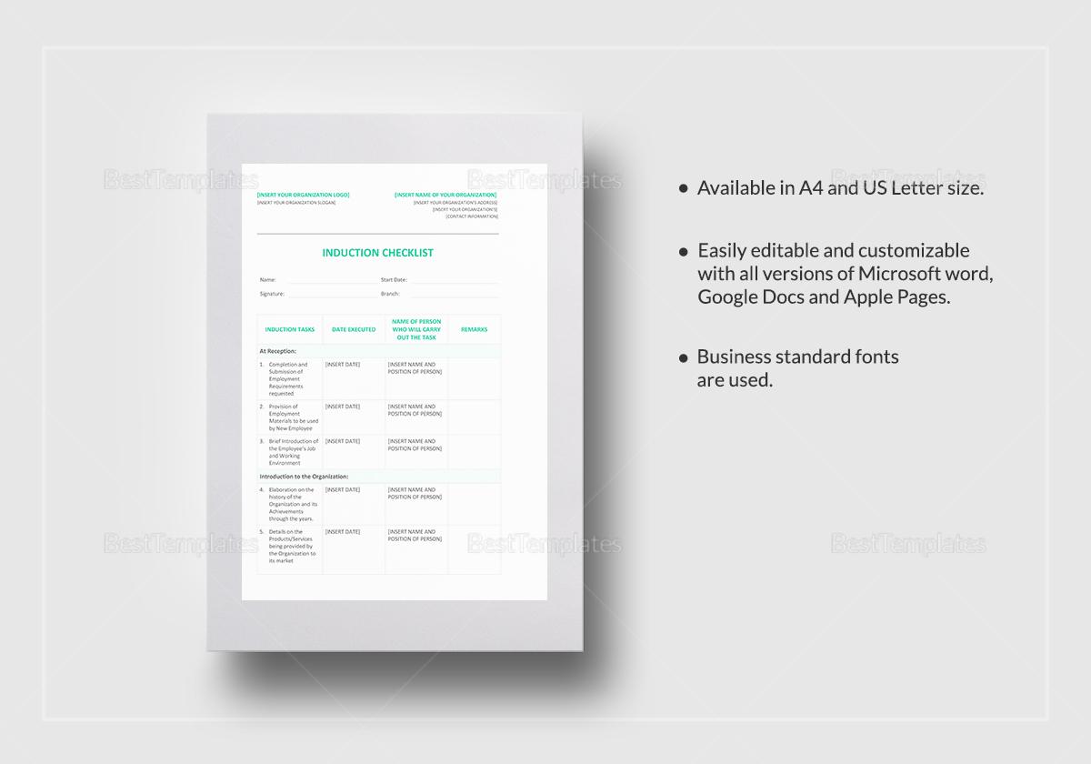 Best Induction Checklist Template Photos Best Resume Examples Induction  Checklist QG Induction Checklist Template Doc585596 Sample Training  Checklist ...