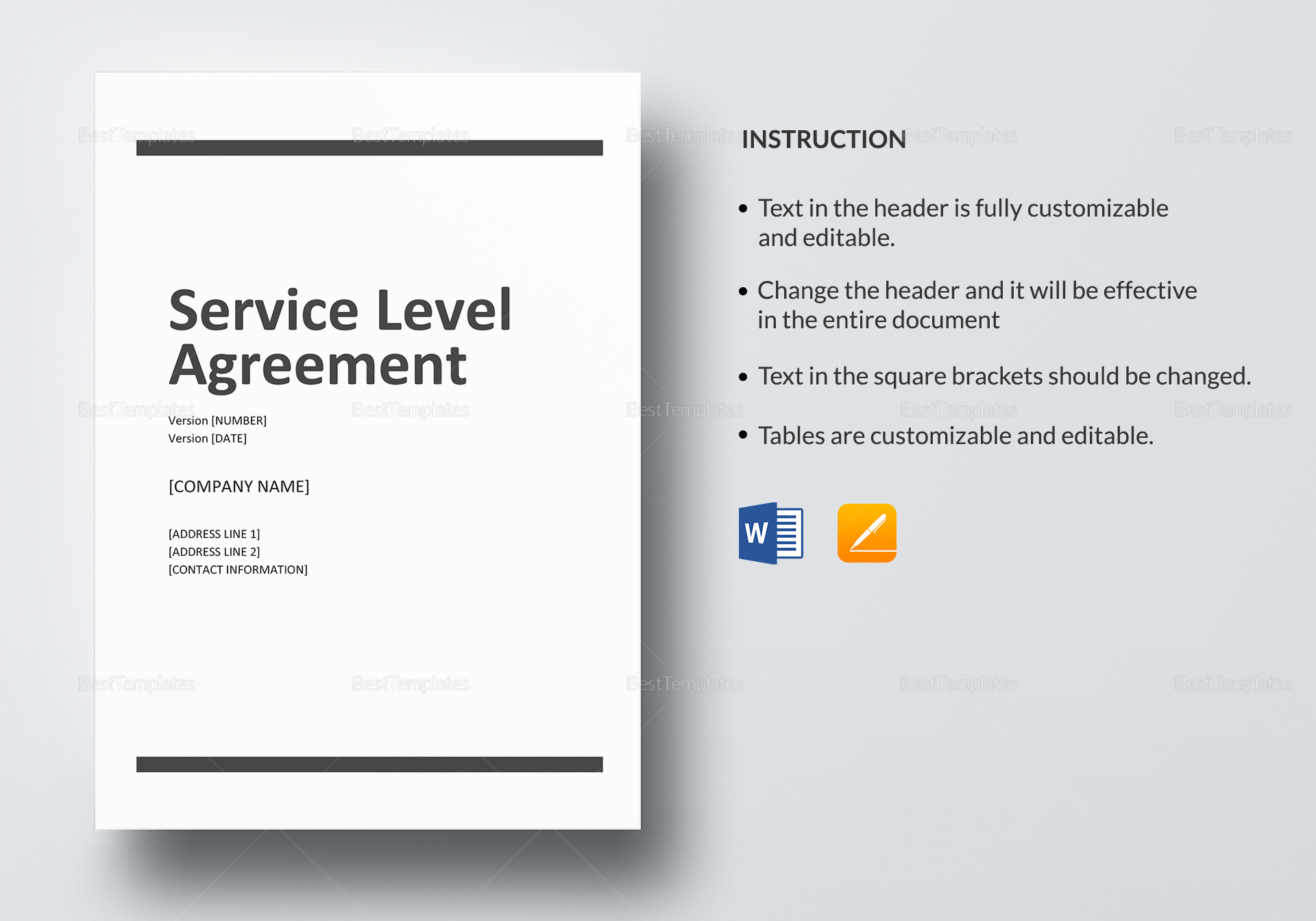 Shared Services Service Level Agreement Template
