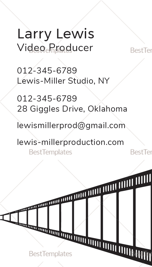 Sample Video Producer Business Card