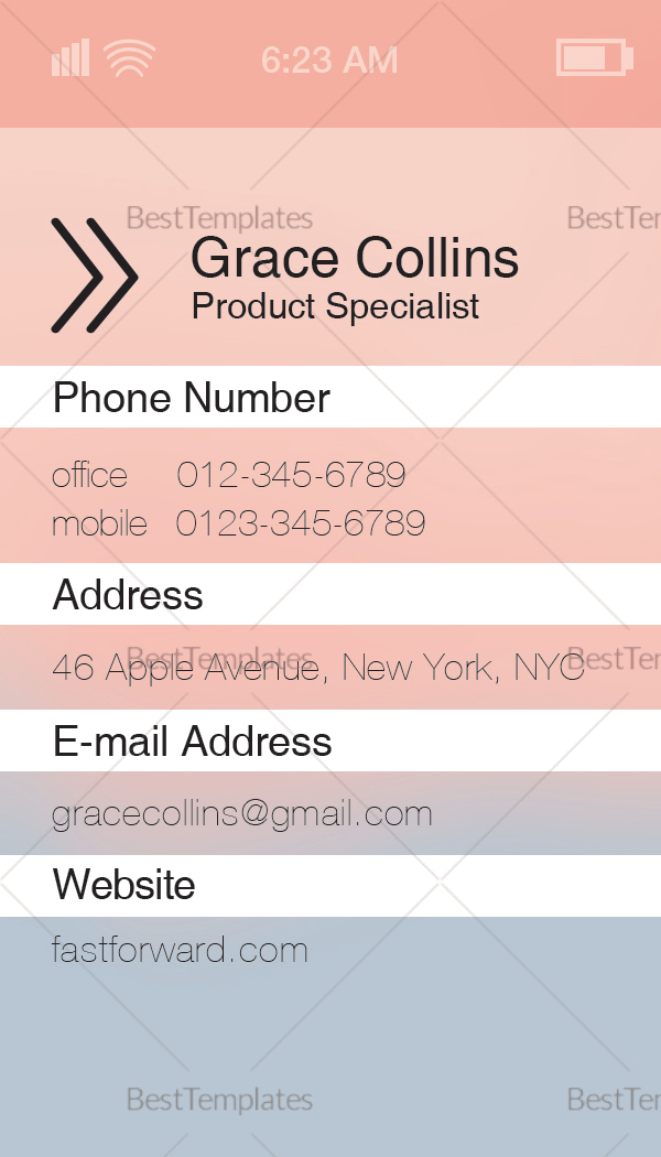 Sample Stylish Iphone Business Card