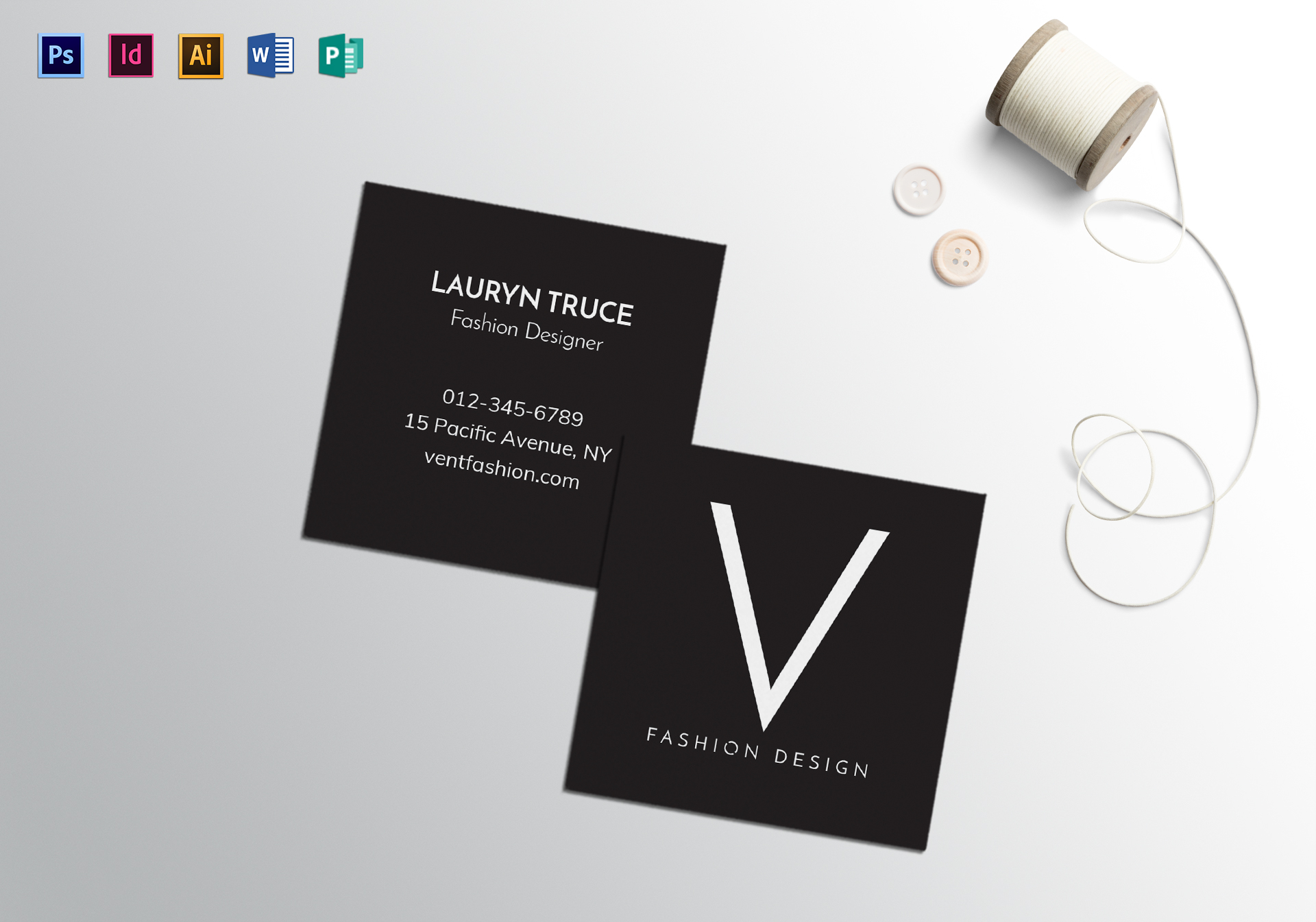 square minimal business card template in psd word publisher illustrator indesign. Black Bedroom Furniture Sets. Home Design Ideas
