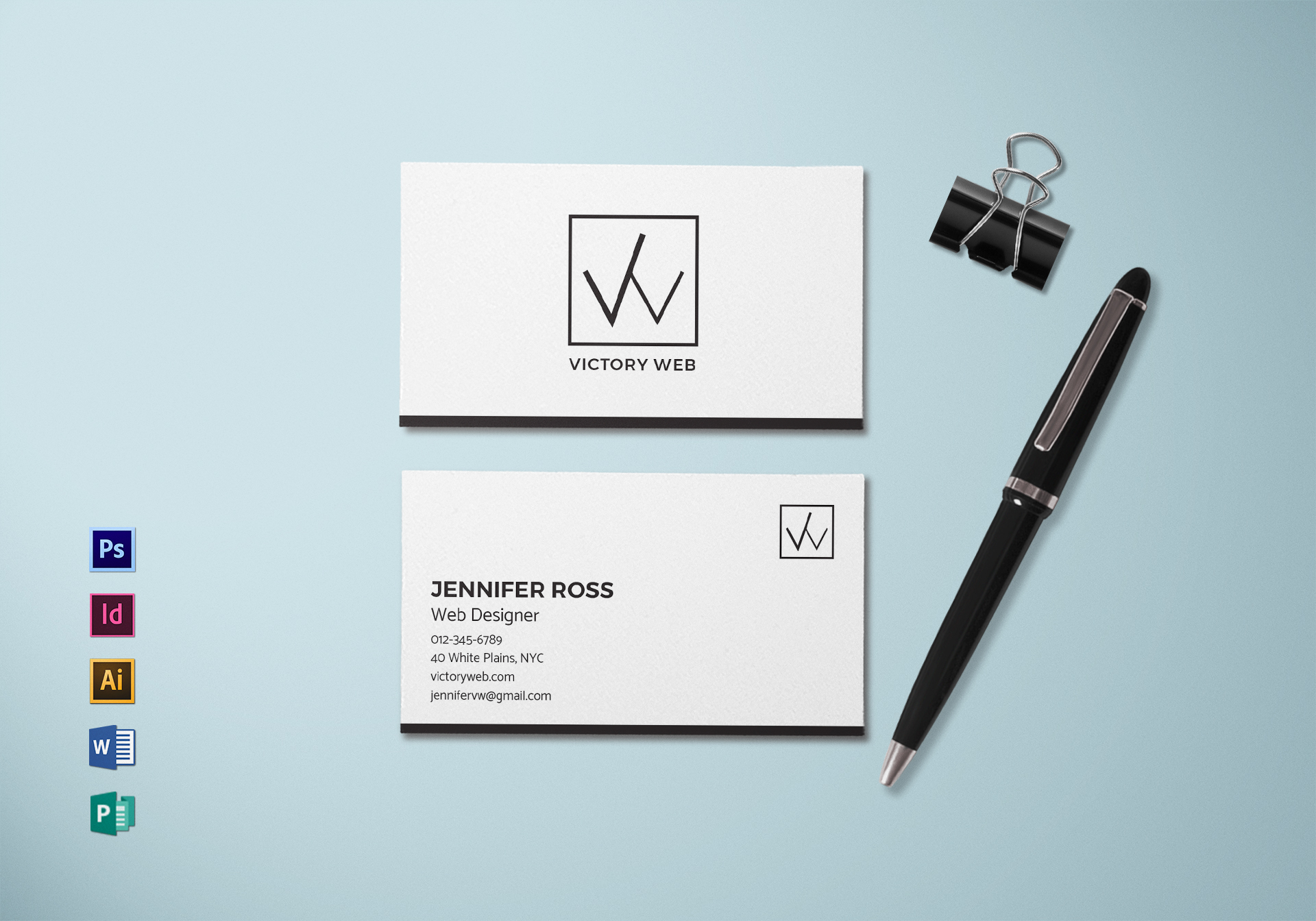 simple minimal business card template in psd word publisher