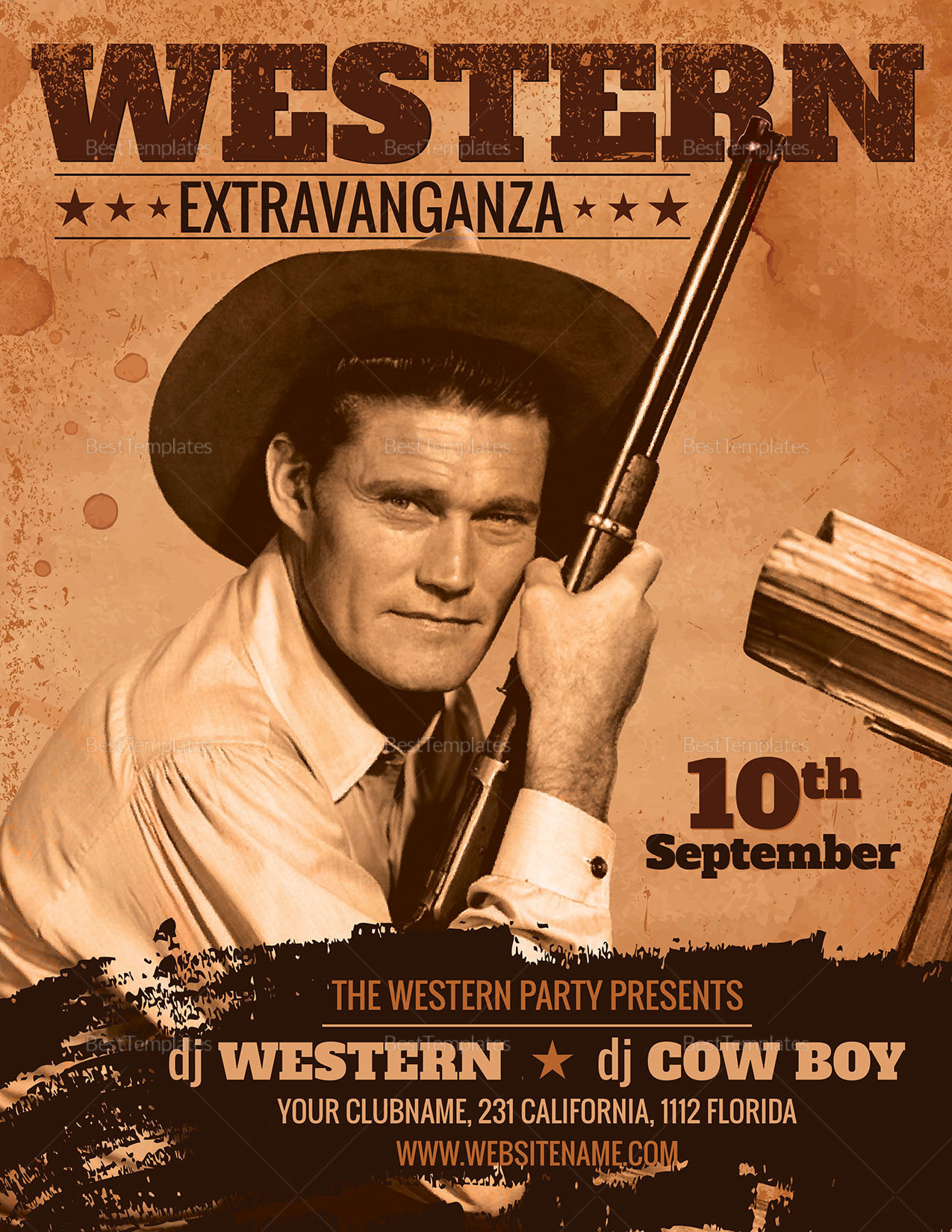 Western Party Flyer Design