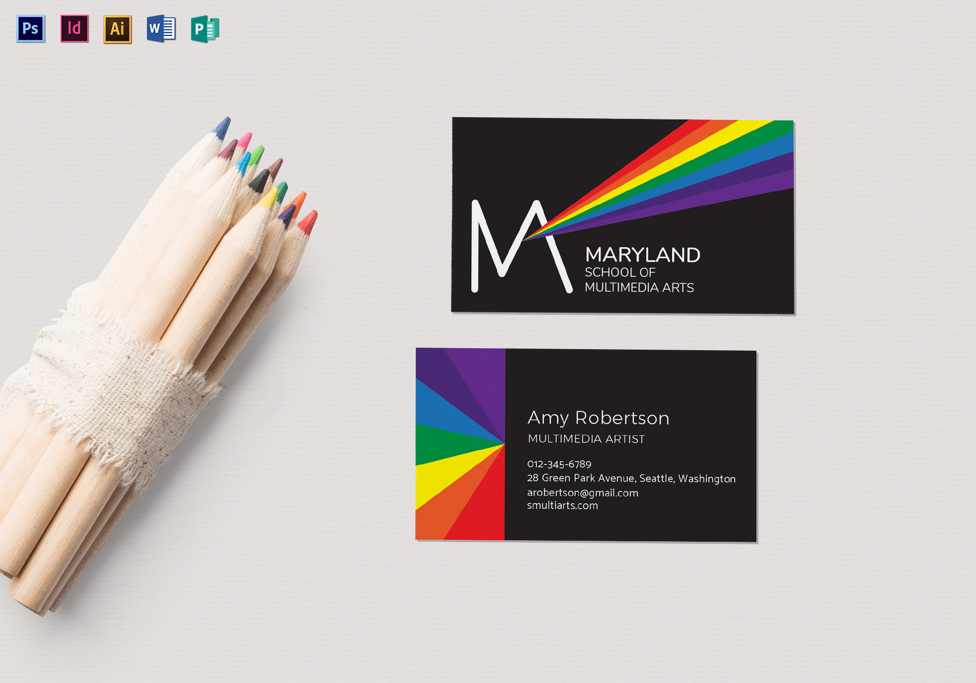 Rainbow Business Card Template in PSD, Word, Publisher, Illustrator ...