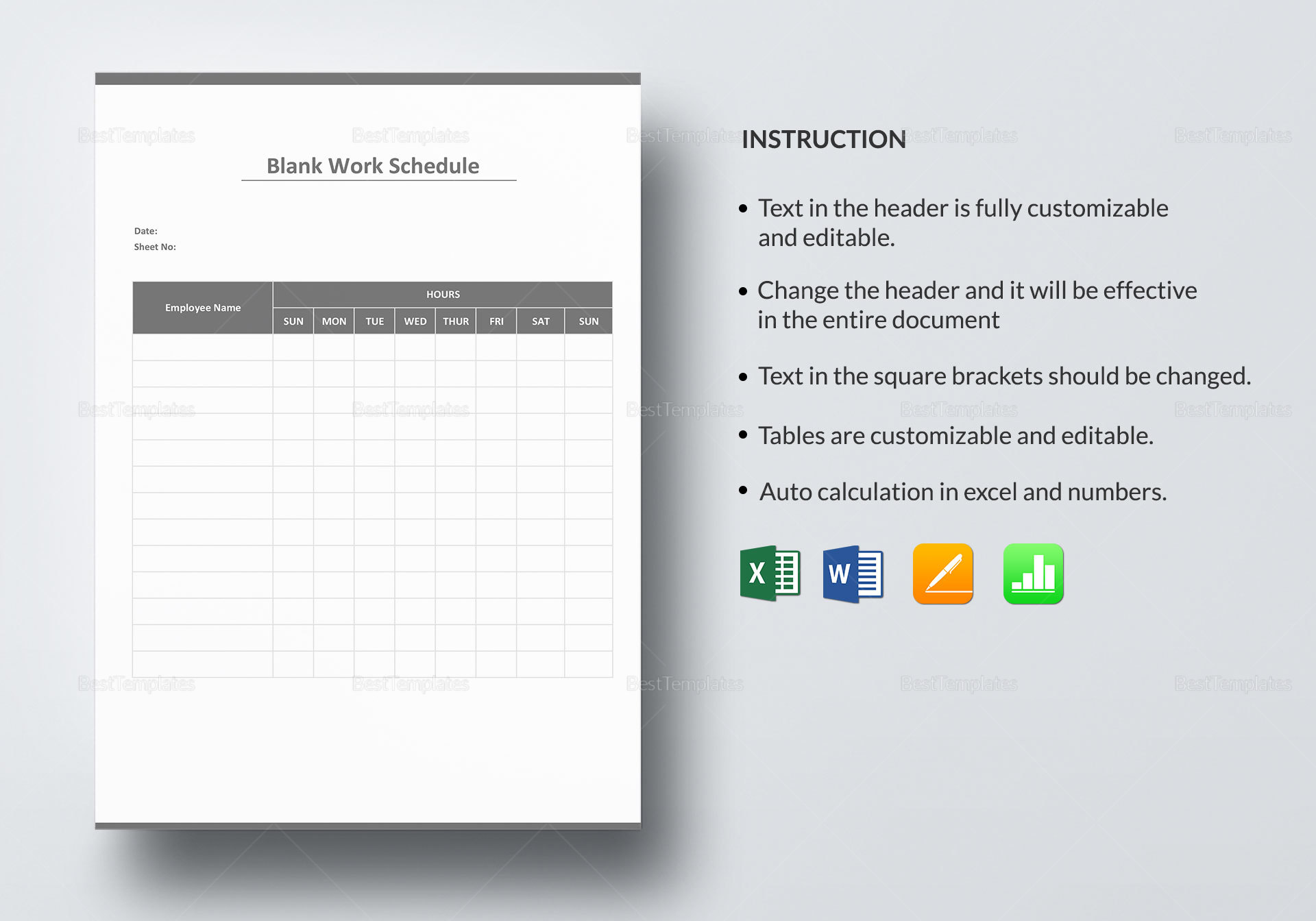 Blank Work Schedule Template In Word Excel Apple Pages Numbers