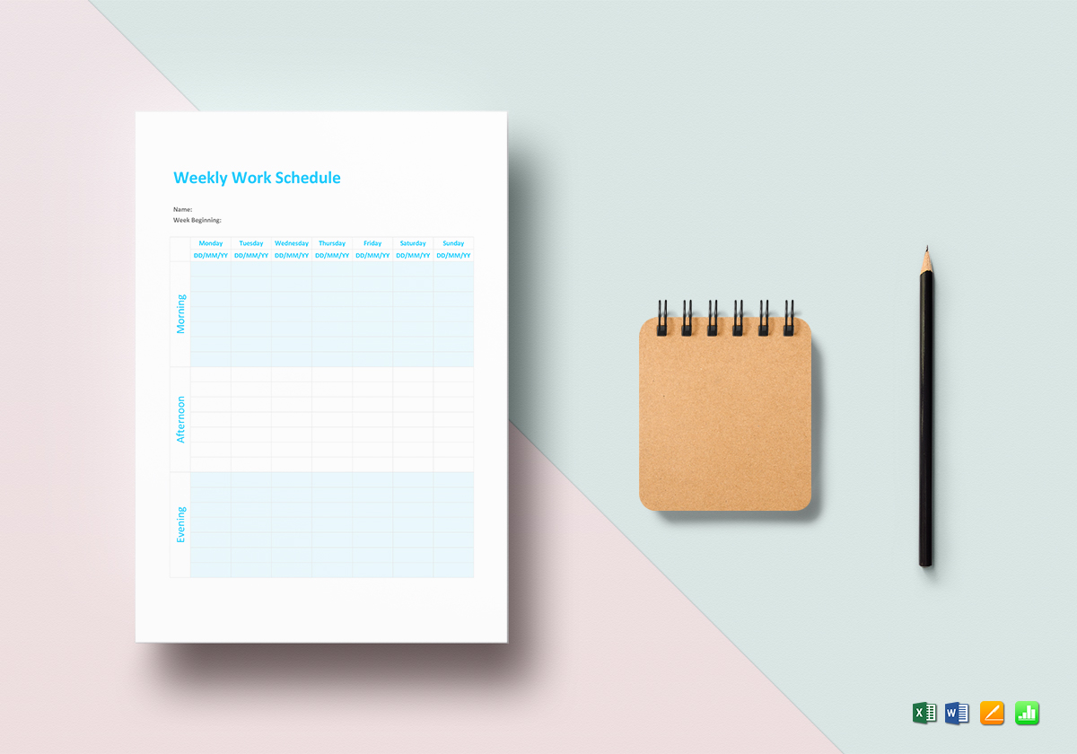 Weekly Work Schedule Template in Word, Excel, Apple Pages, Numbers
