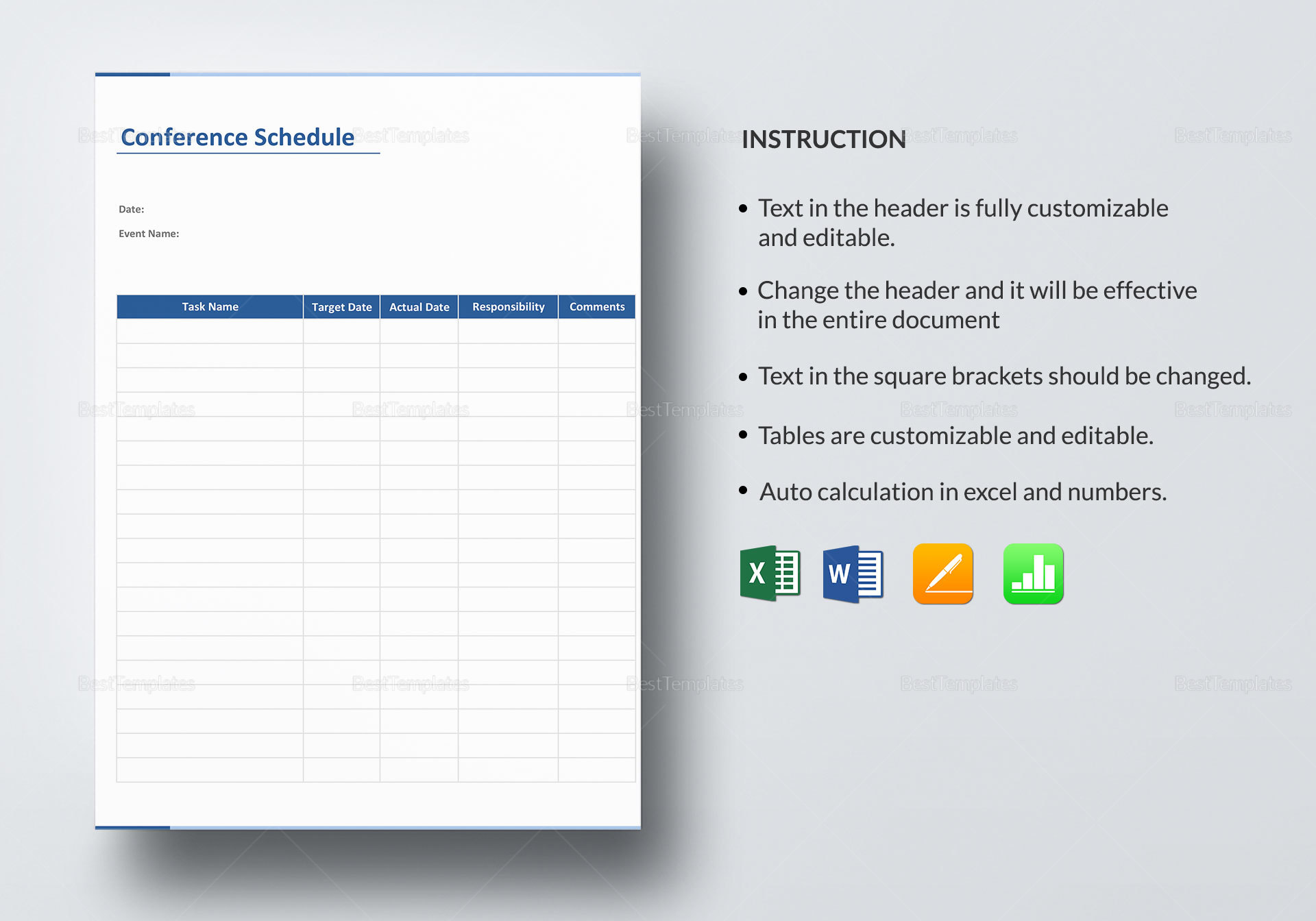 Conference Schedule Template in Word Excel Apple Pages Numbers