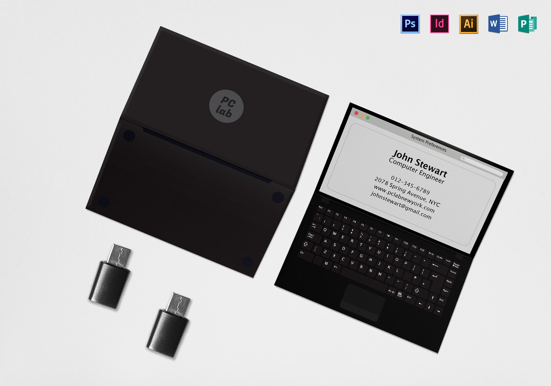 Black Laptop Business Card Template In PSD Word Publisher - Folded business card template