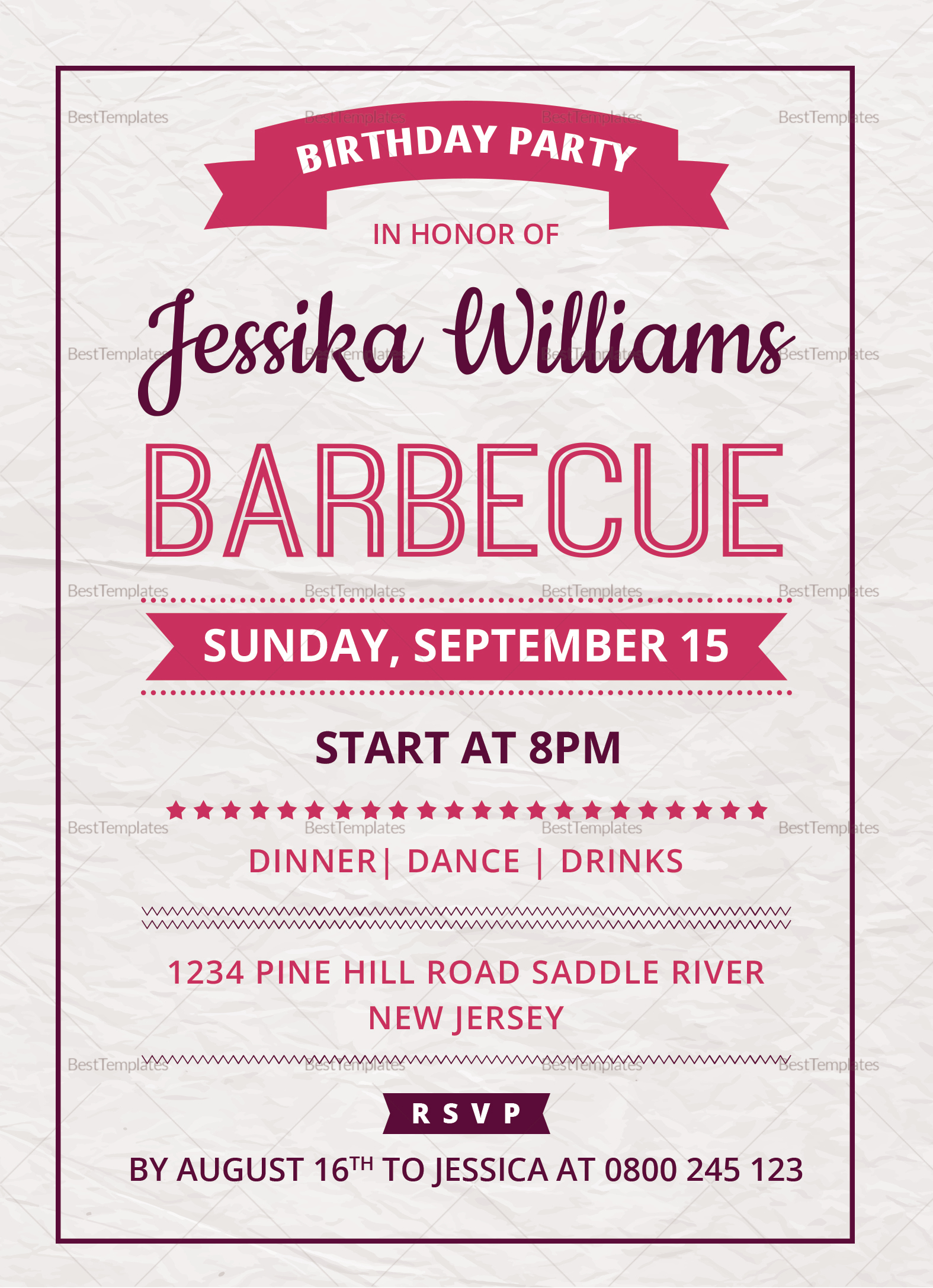 BBQ Birthday Party Invitation Card Design Template