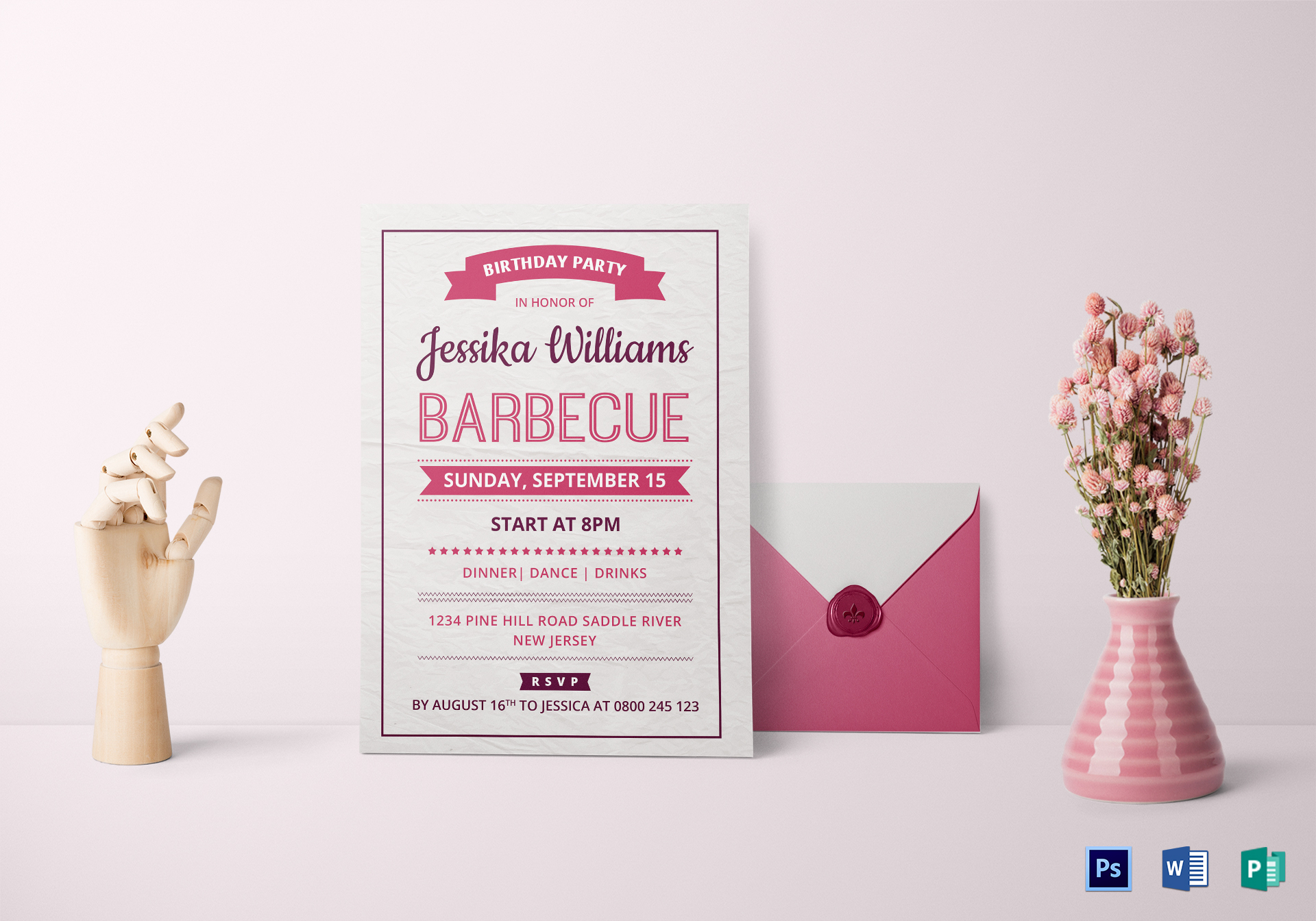 BBQ Birthday Party Invitation Card Design Template in Word, PSD ...