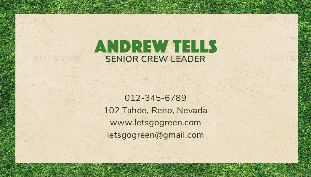 Sample Landscape Business Card Template