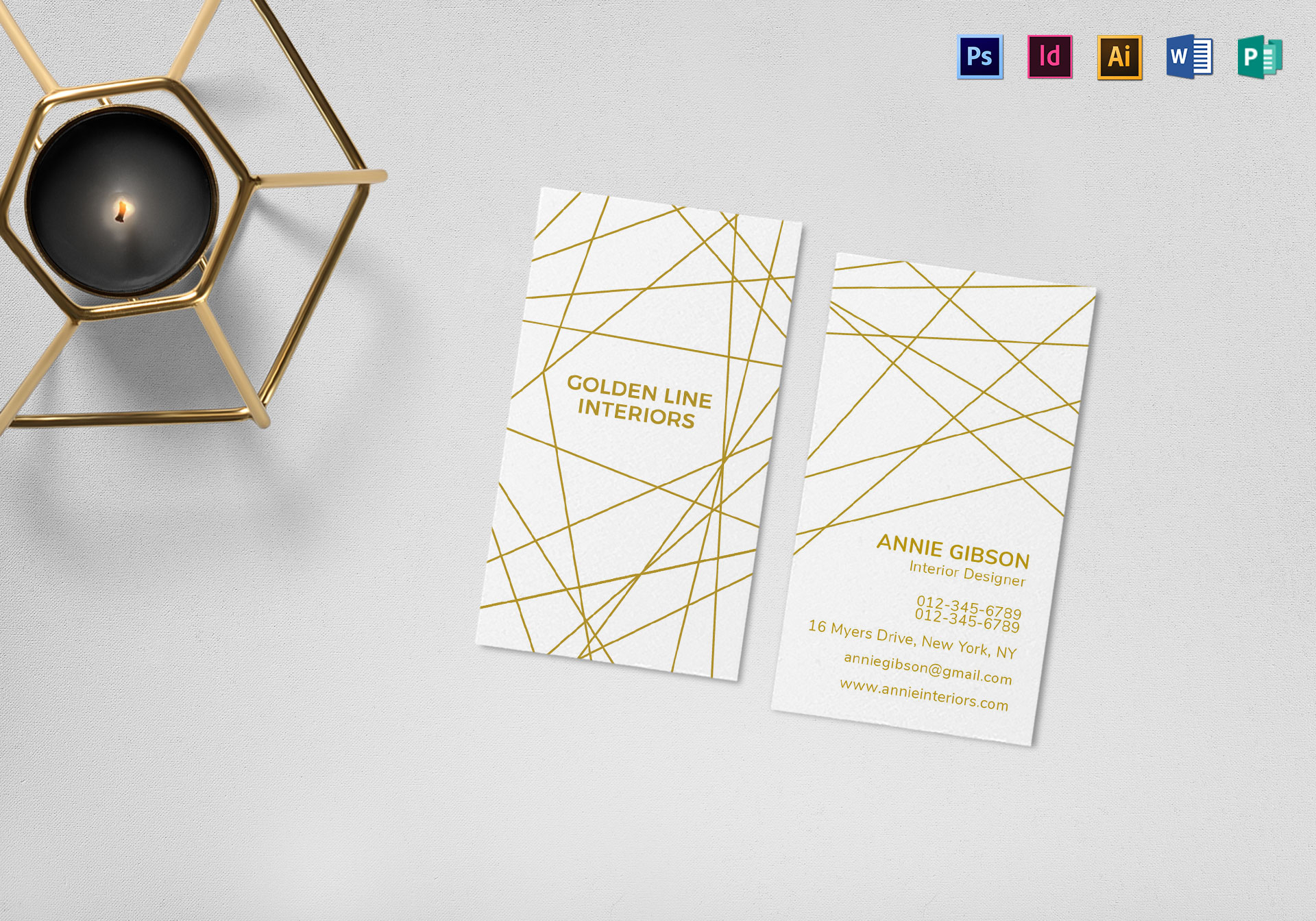 Gold and White Business Card Template
