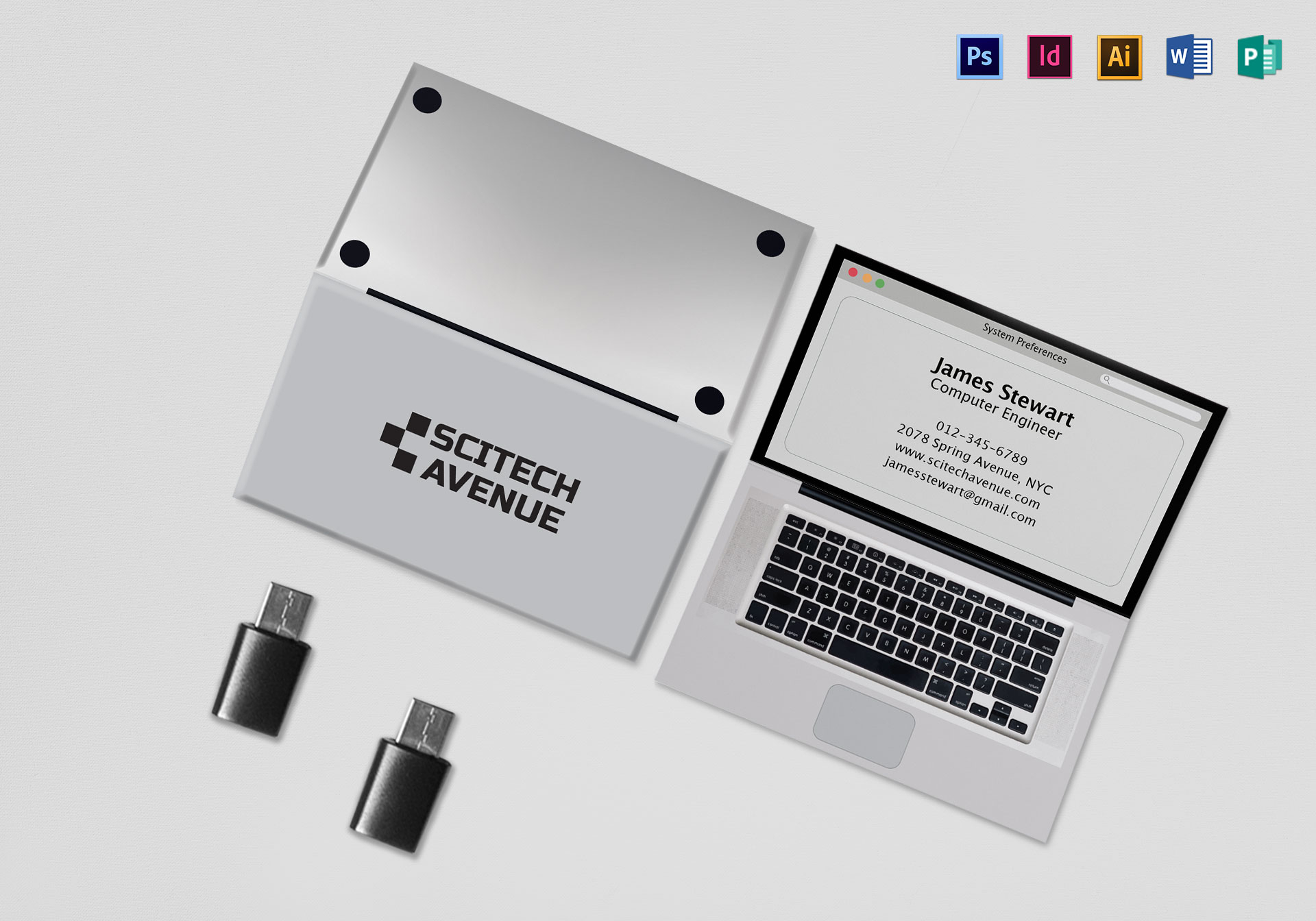 Folded Laptop Business Card Template in PSD, Word, Publisher ...