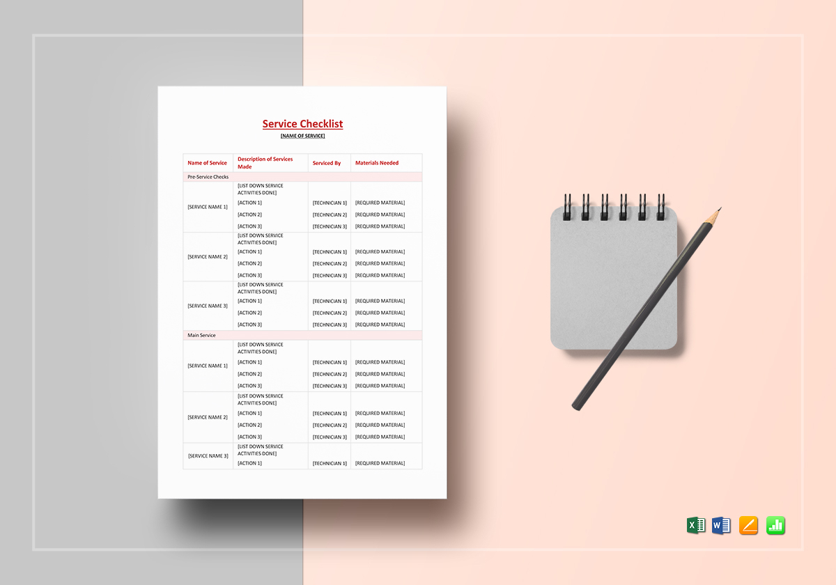 Service Checklist Template in Word, Excel, Apple Pages, Numbers