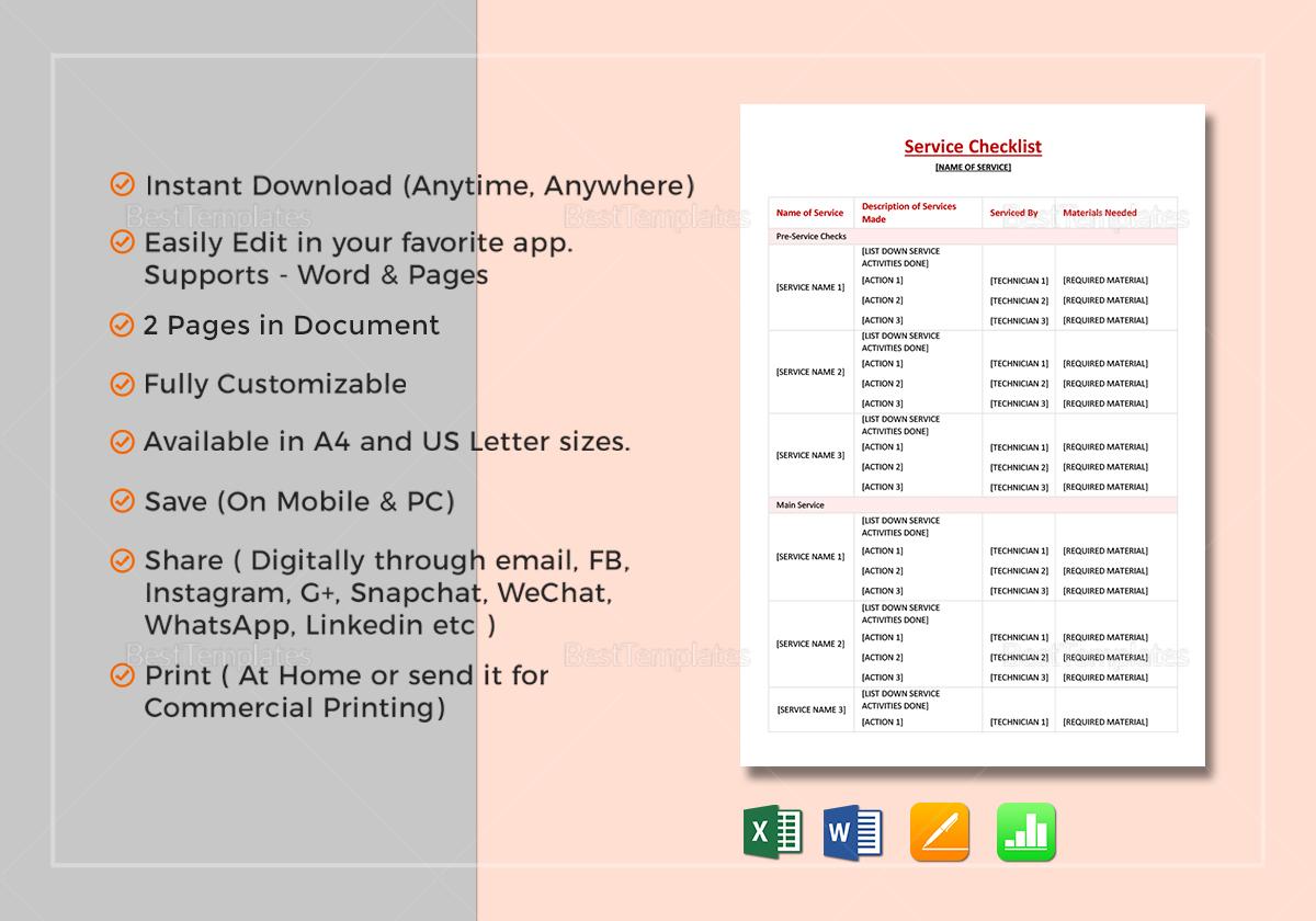 Simple Service Checklist Template