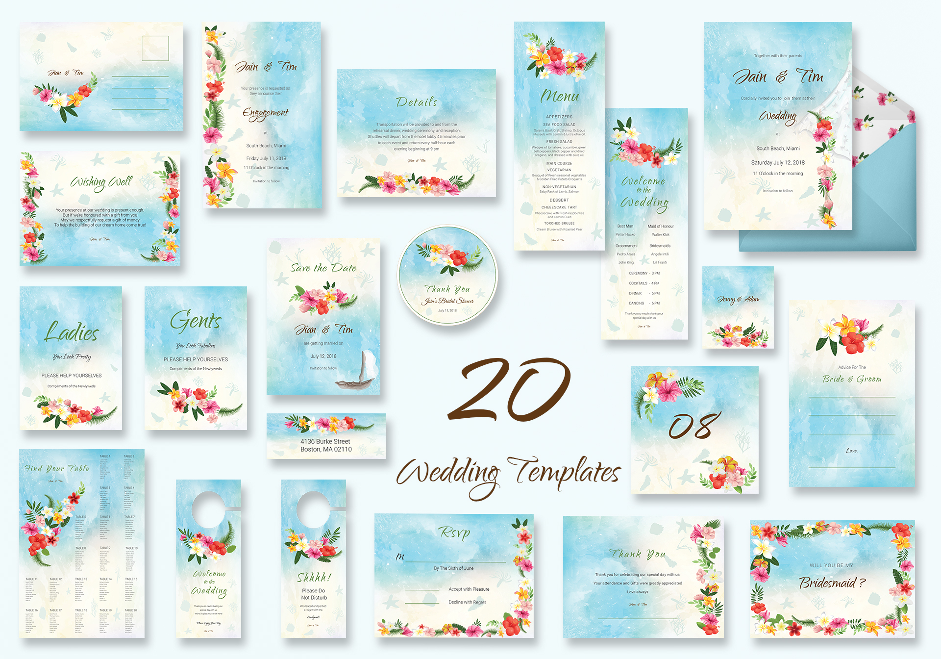 Beach Wedding Templates