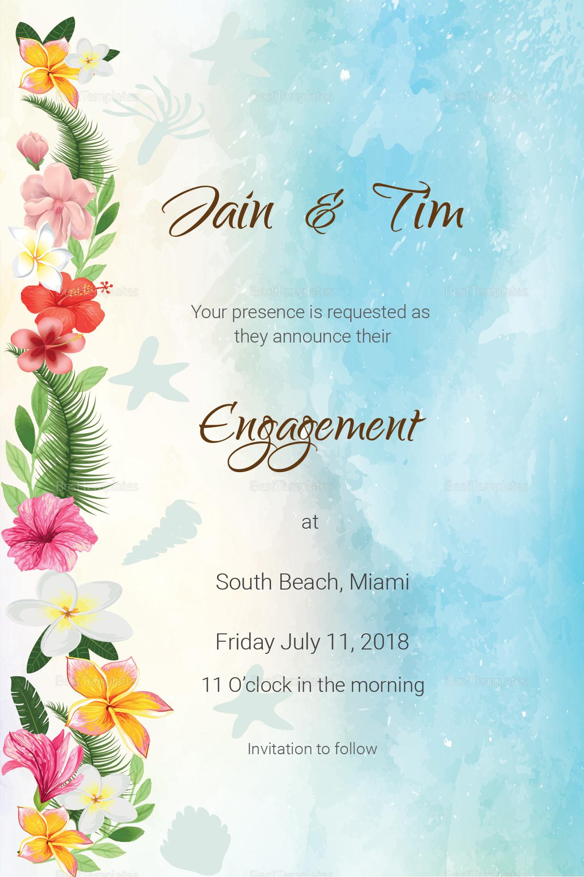 Beach Engagement Announcement Card