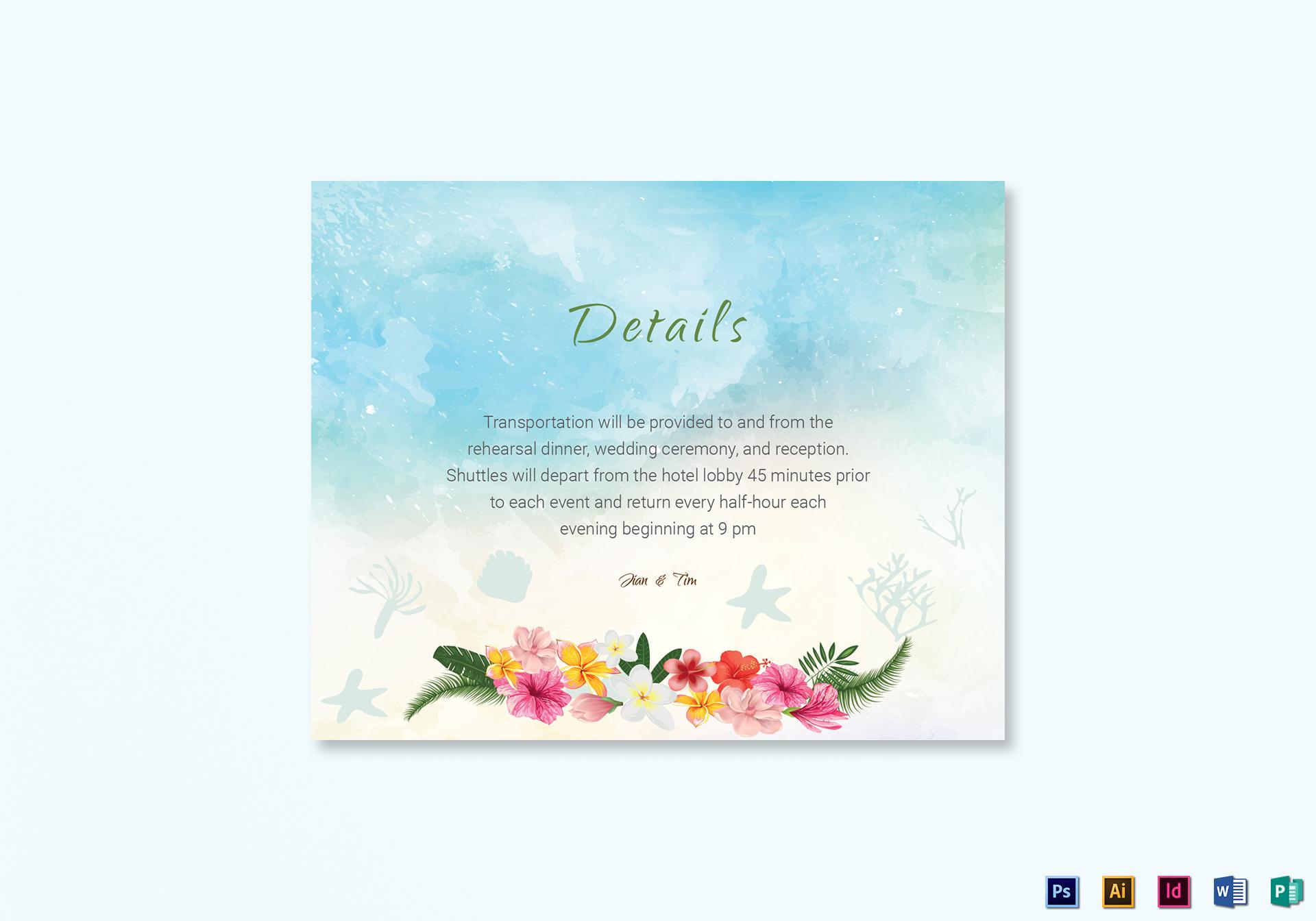 Beach Wedding Details Card Template