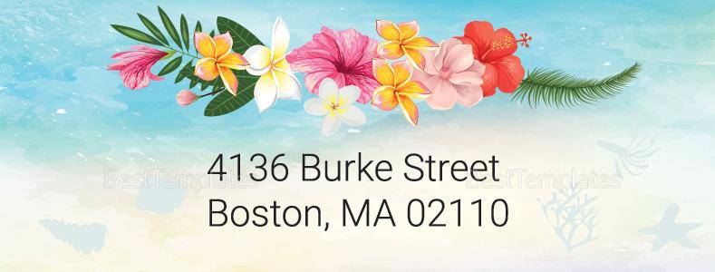 Beach Wedding Address Labels Card Template