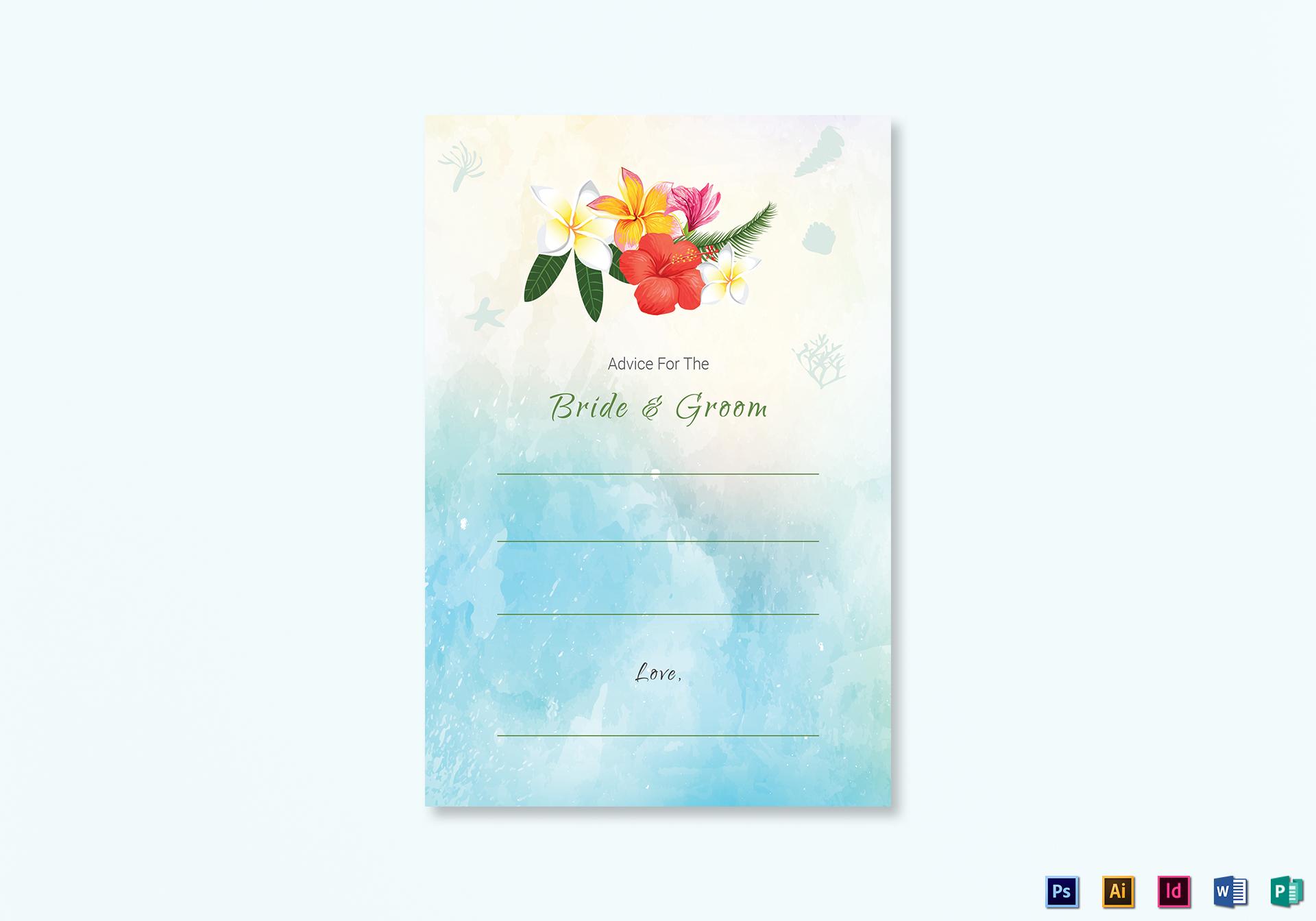 Beach Wedding Advice Card Template