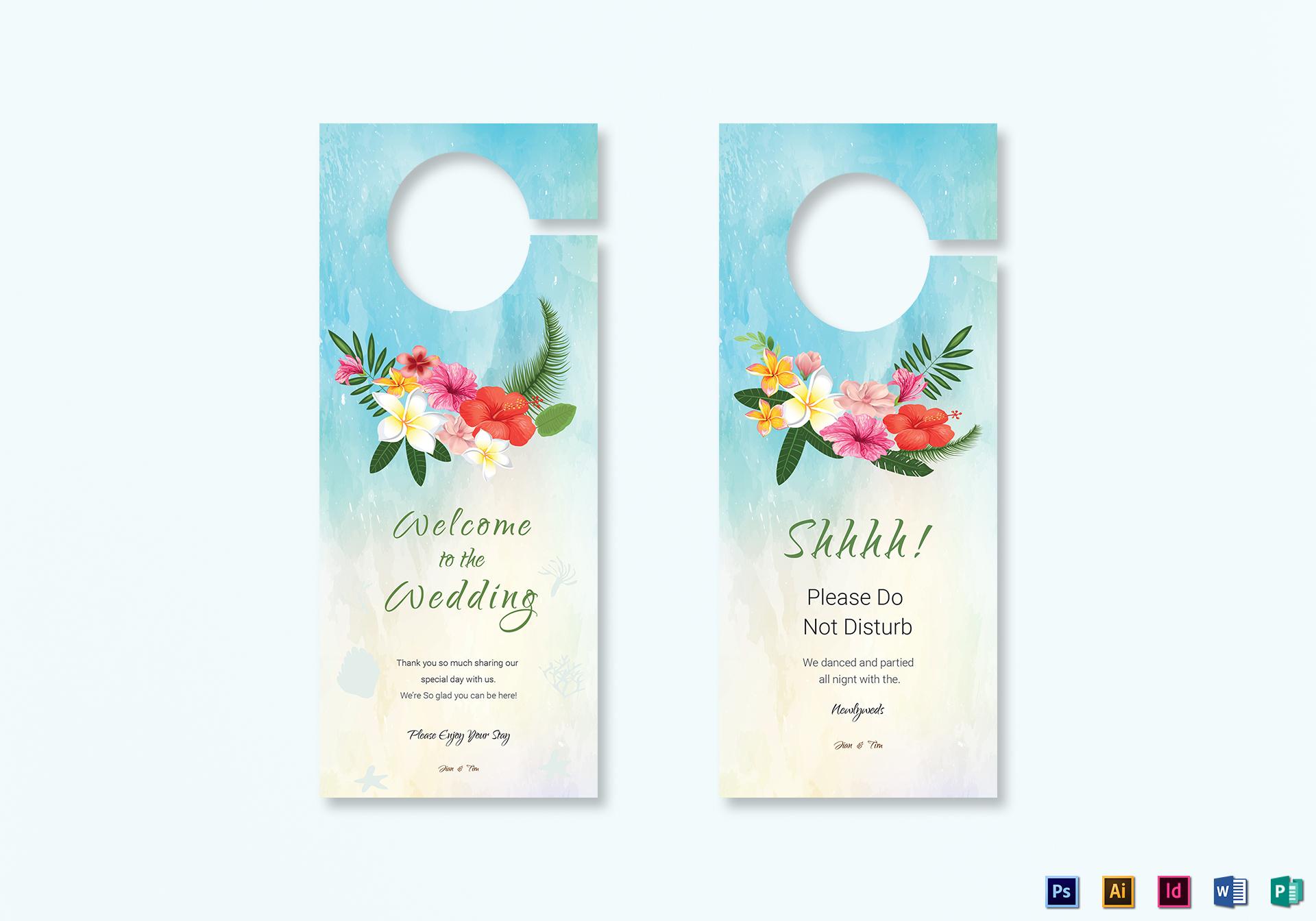 Beach Wedding Door Hanger Template in PSD, Word, Publisher ...