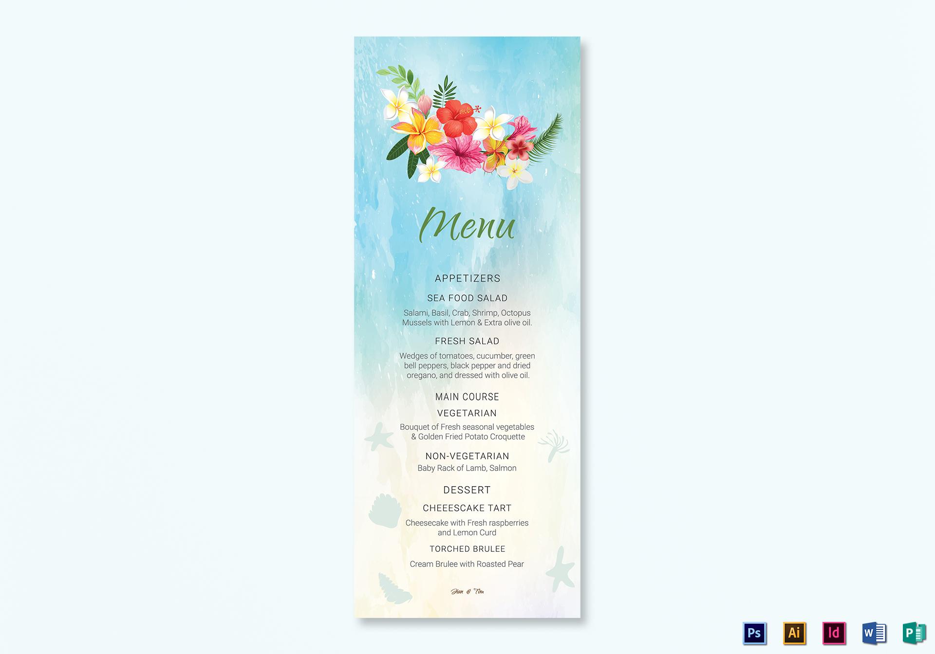 Beach Wedding Menu Card