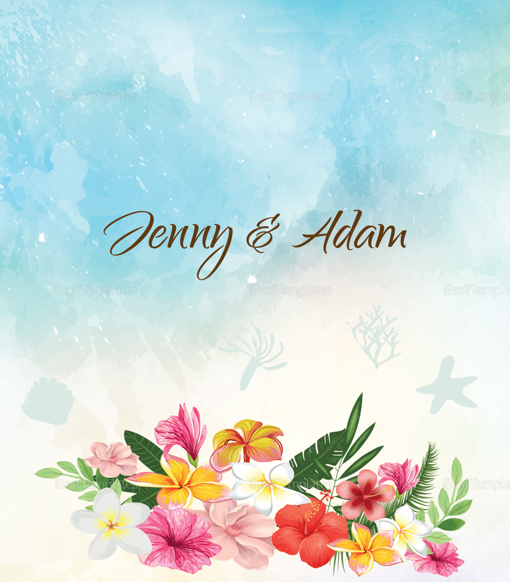 Beach Wedding Place card Template