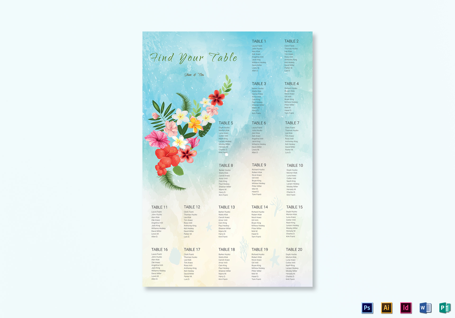 Beach Wedding Seating Chart Template