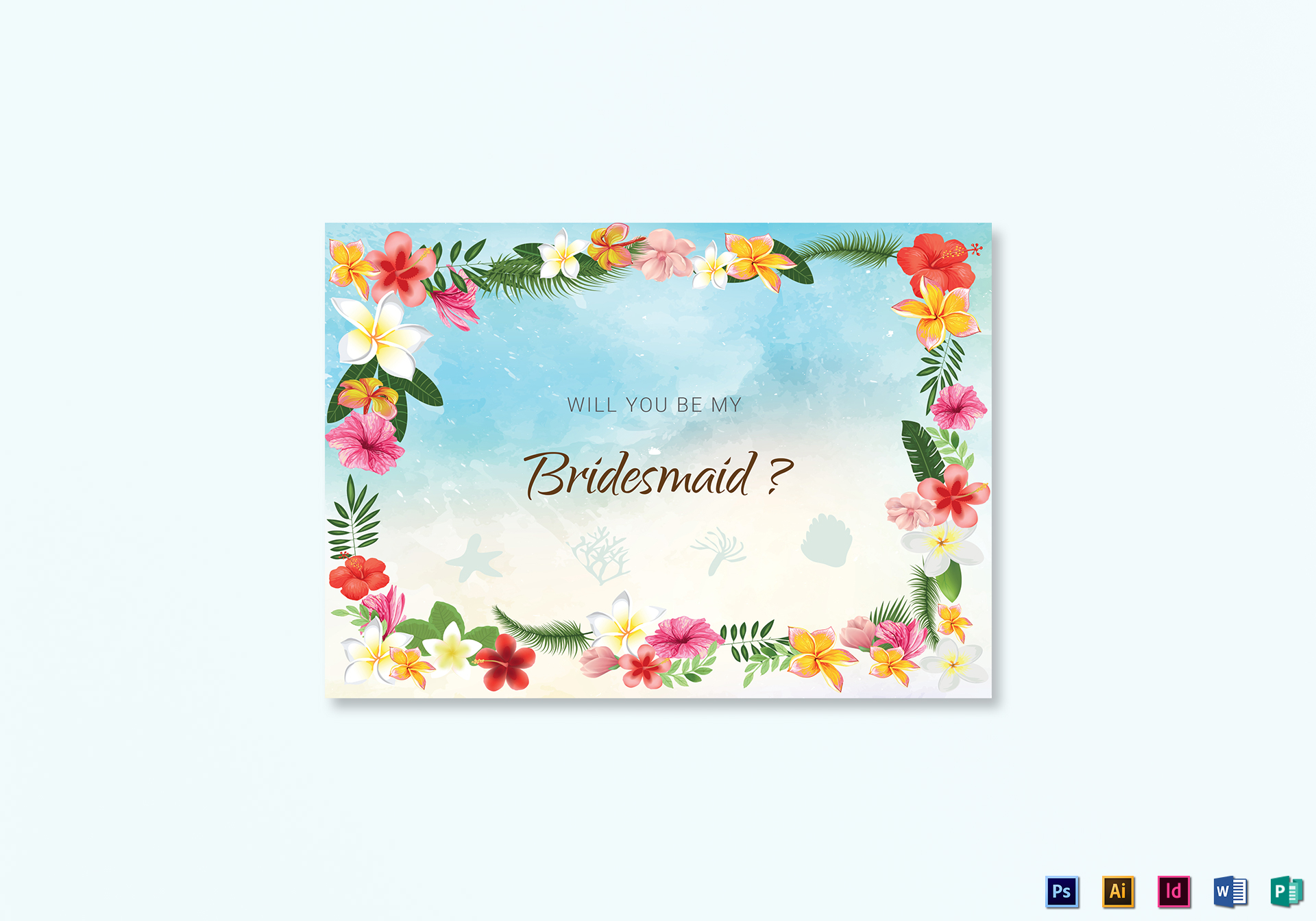 Beach Will You Be My Bridesmaid Card Template in PSD, Word ...